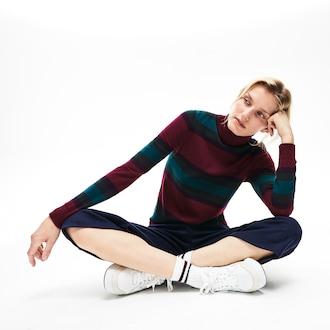 라코스테 우먼 스트라이프 터틀넥 스웨터 Lacoste Womens Striped Wool Jersey Turtleneck Sweater