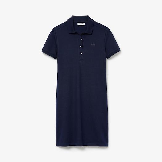 라코스테 스트레치 코튼 피케 원피스 Lacoste Womens Stretch Cotton Pique Polo Dress,Navy Blue - 166