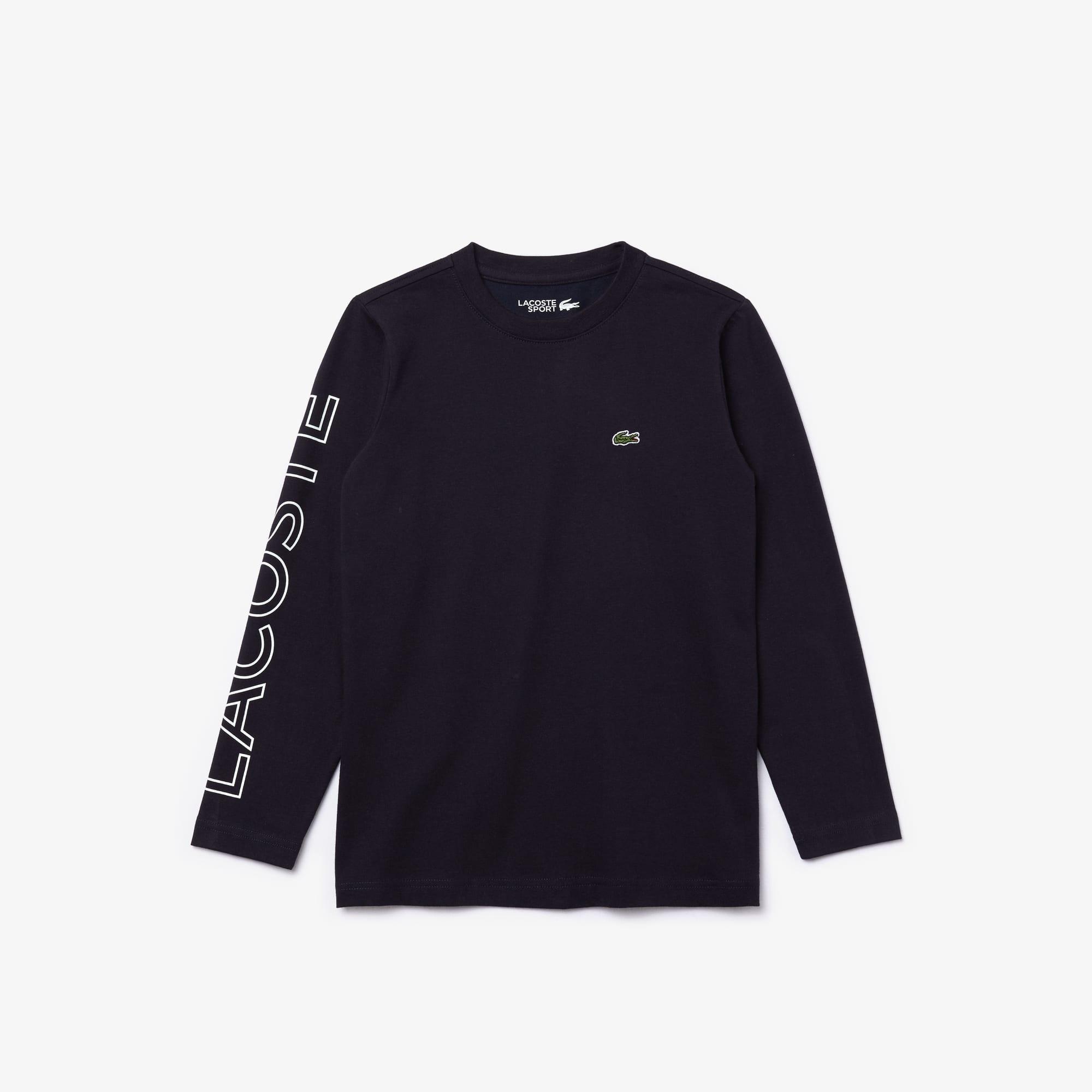 Boys 라코스테 Lacoste SPORT Breathable Cotton T-shirt,Navy Blue / White • EL5