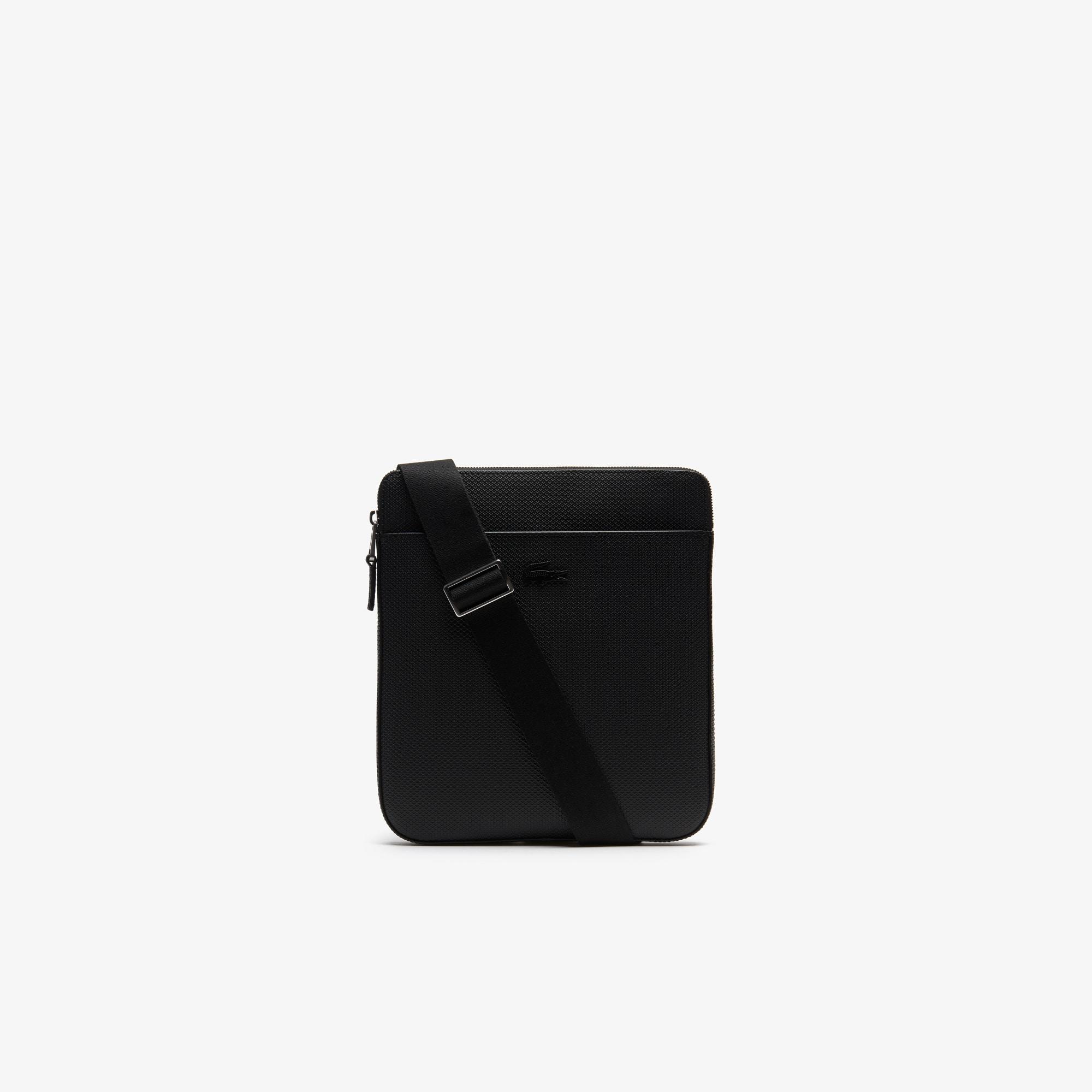 라코스테 Lacoste Mens Chantaco Matte Pique Leather Flat Zip Bag,BLACK