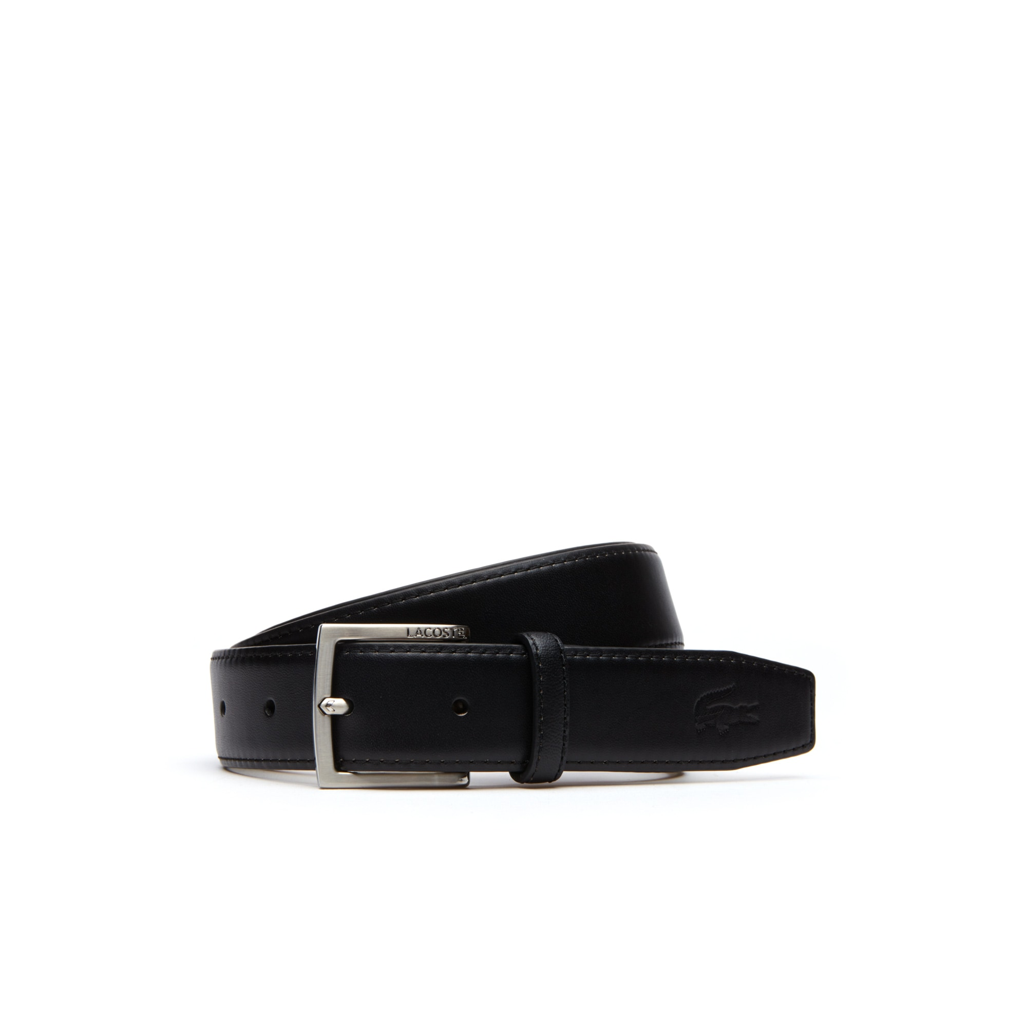 라코스테 벨트 Lacoste Mens Engraved Tongue Buckle Leather Belt,black