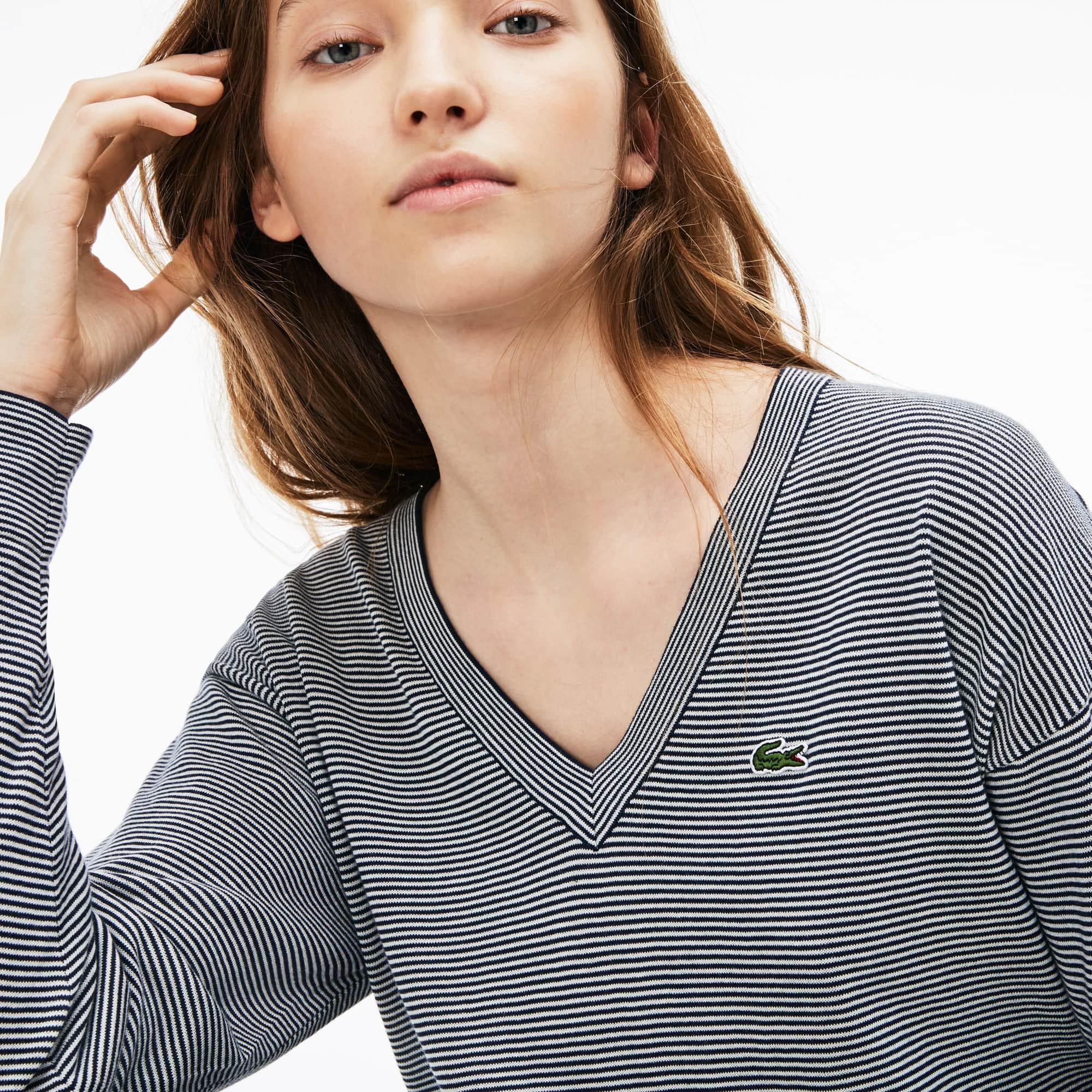 Women's Pinstriped Cotton Sweater