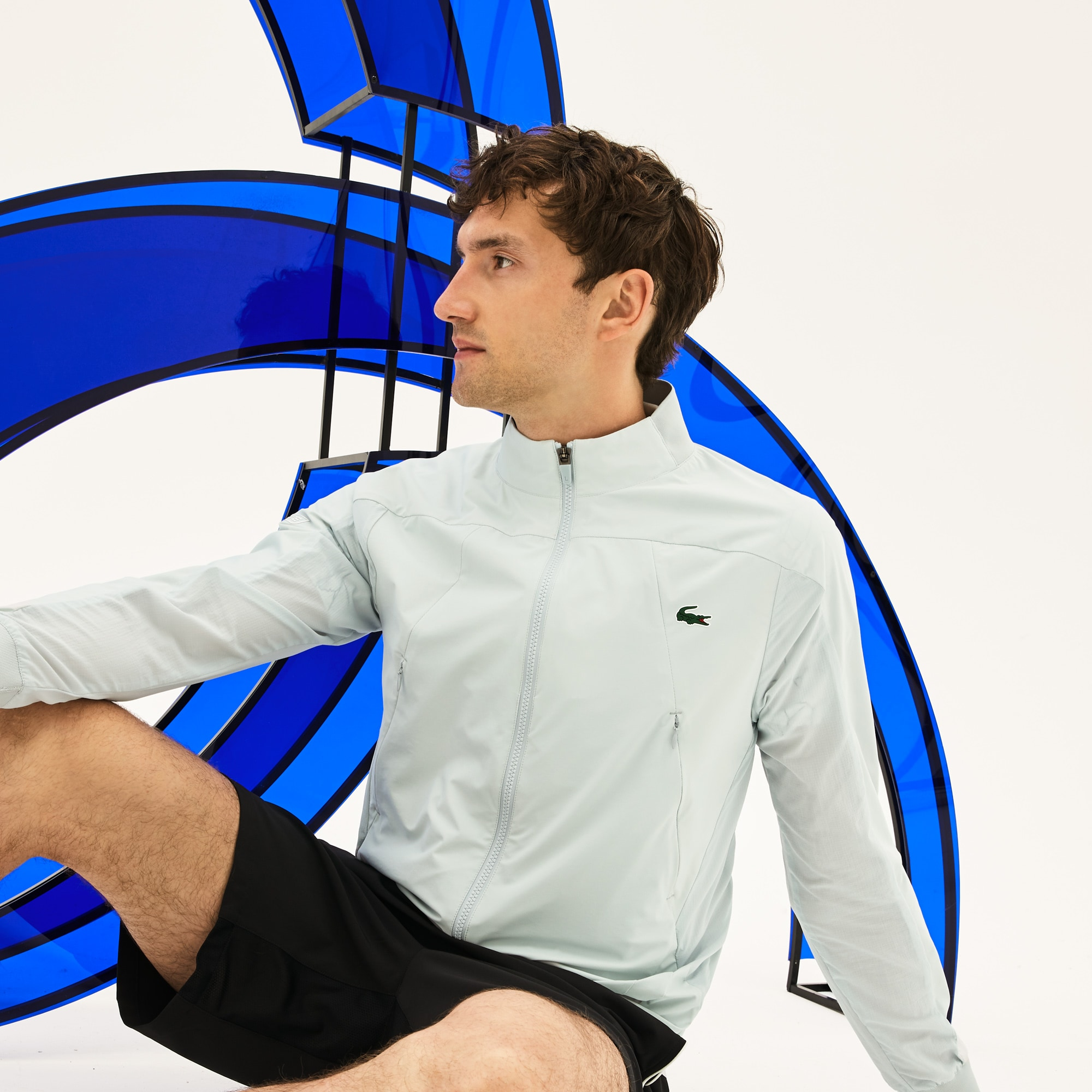 Men's SPORT Stand-Up Collar Taffeta Jacket -  x Novak Djokovic Support With Style - Off Court Collection