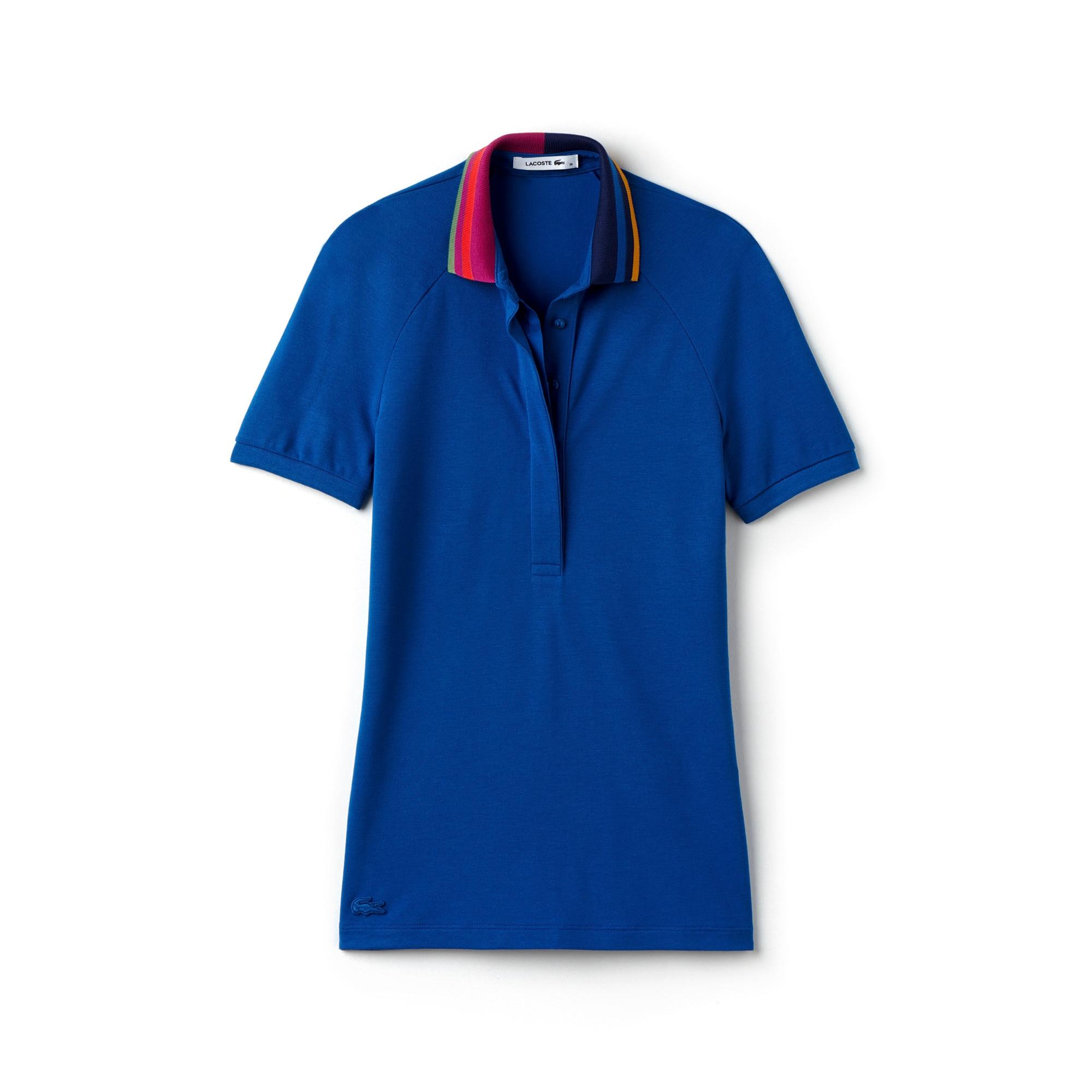 Women's Slim Fit Stretch Petit Piqué Flag Print Collar Polo Shirt