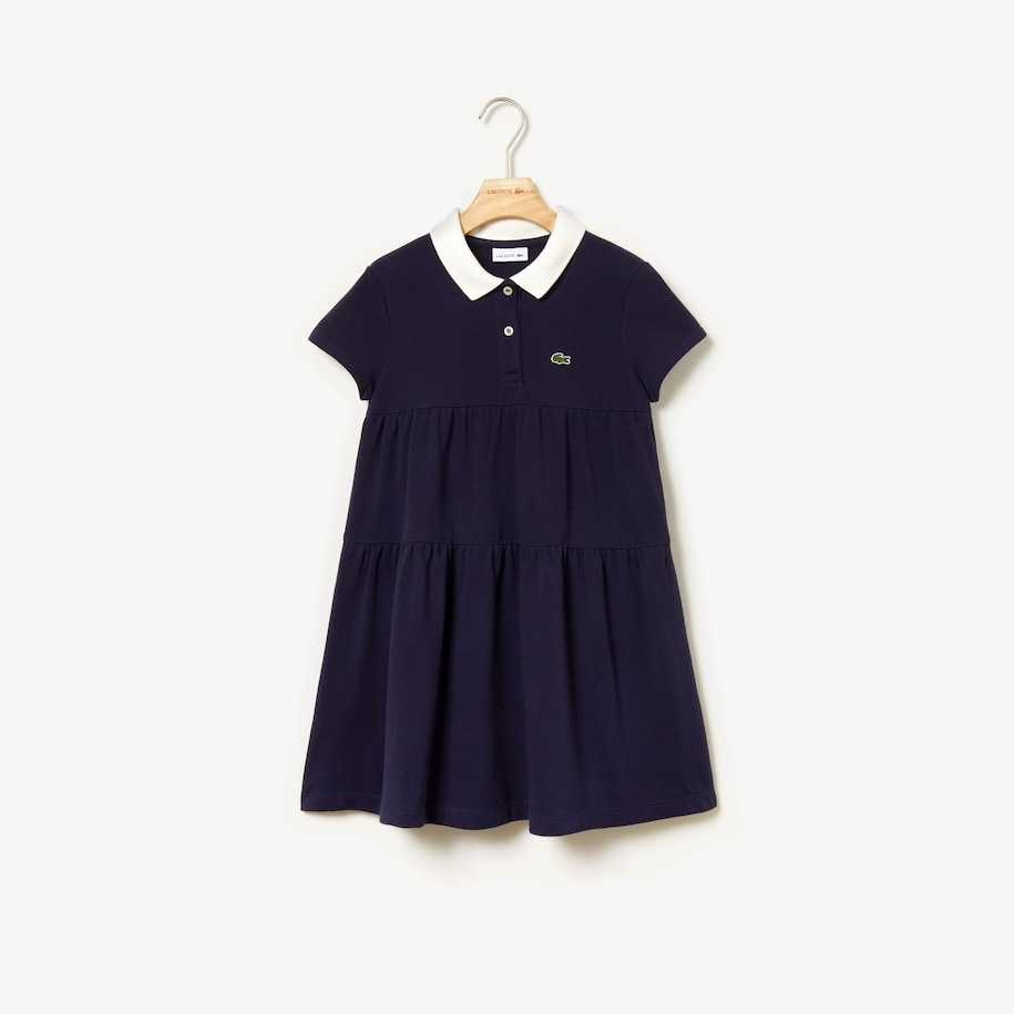 Girls' Flounced Cotton Piqué Polo Dress