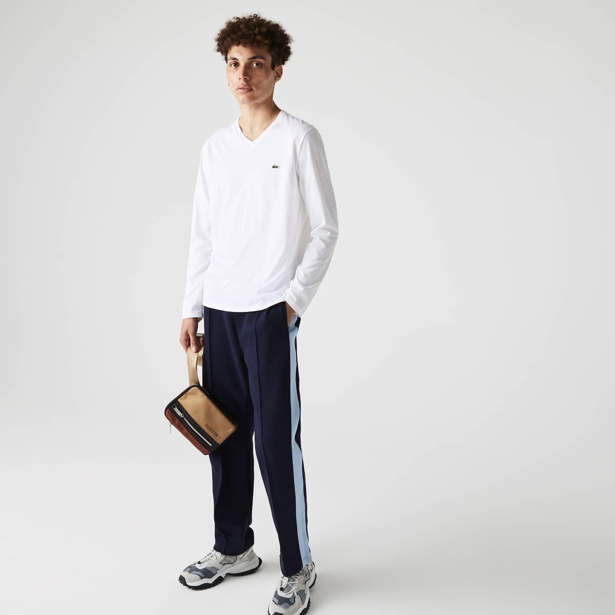 라코스테 Lacoste Mens V-neck Soft Cotton T-shirt