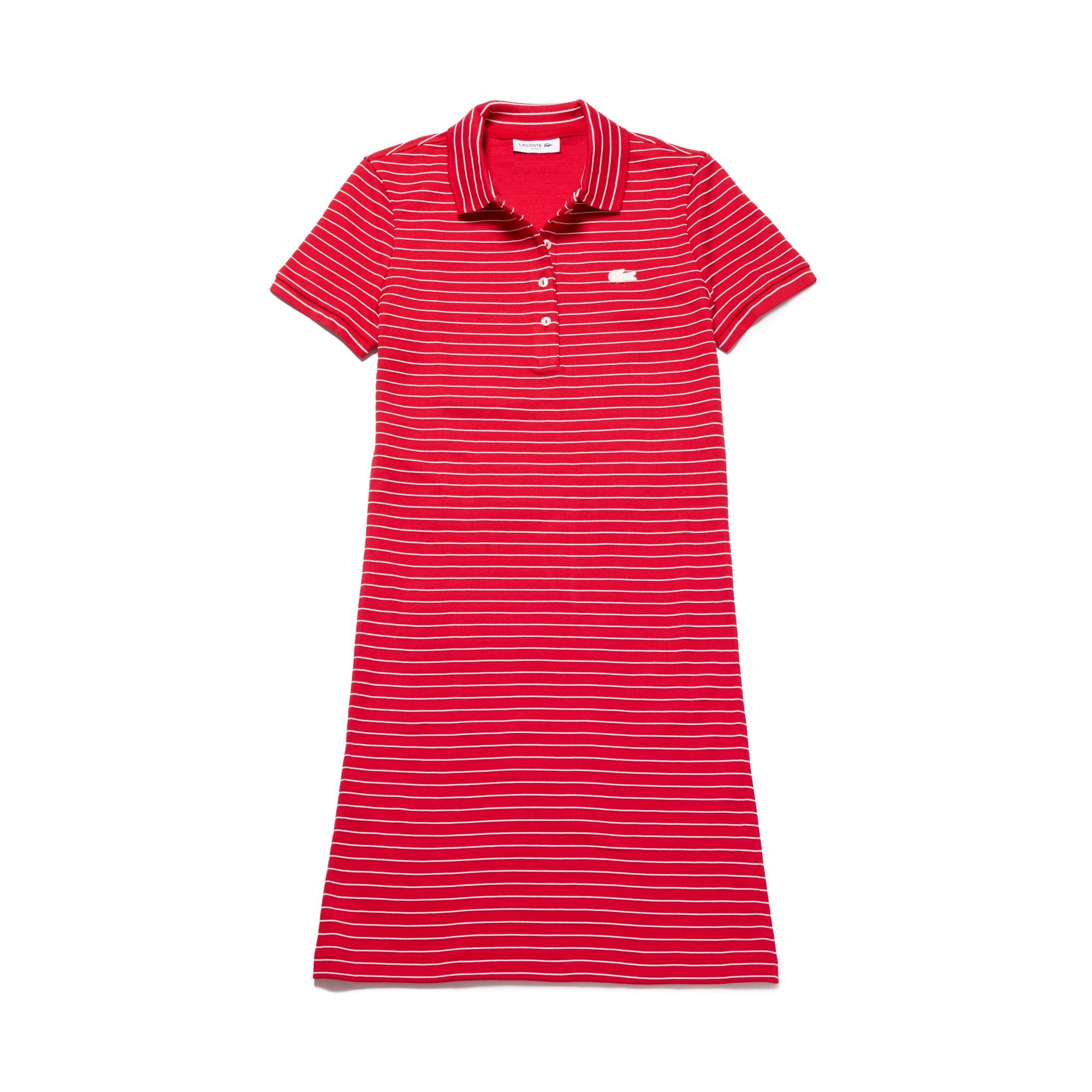 라코스테 Lacoste Womens Slim Fit Striped Stretch Mini Cotton Pique Polo Dress,red / white