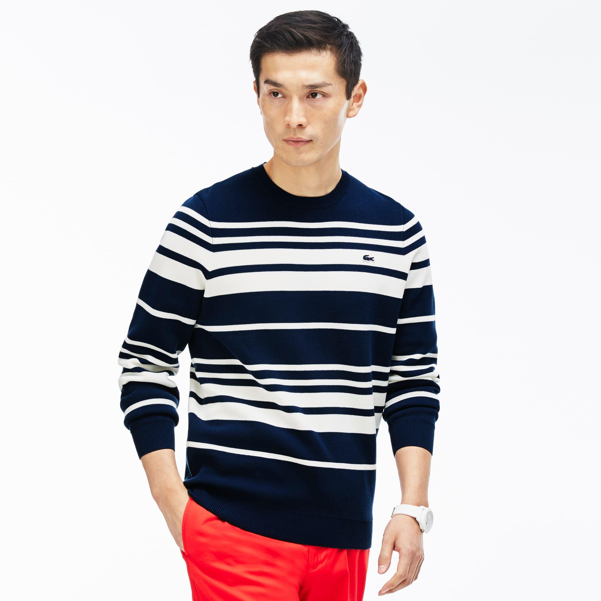 Men's Crew Neck Striped Milano Cotton Sweater | LACOSTE
