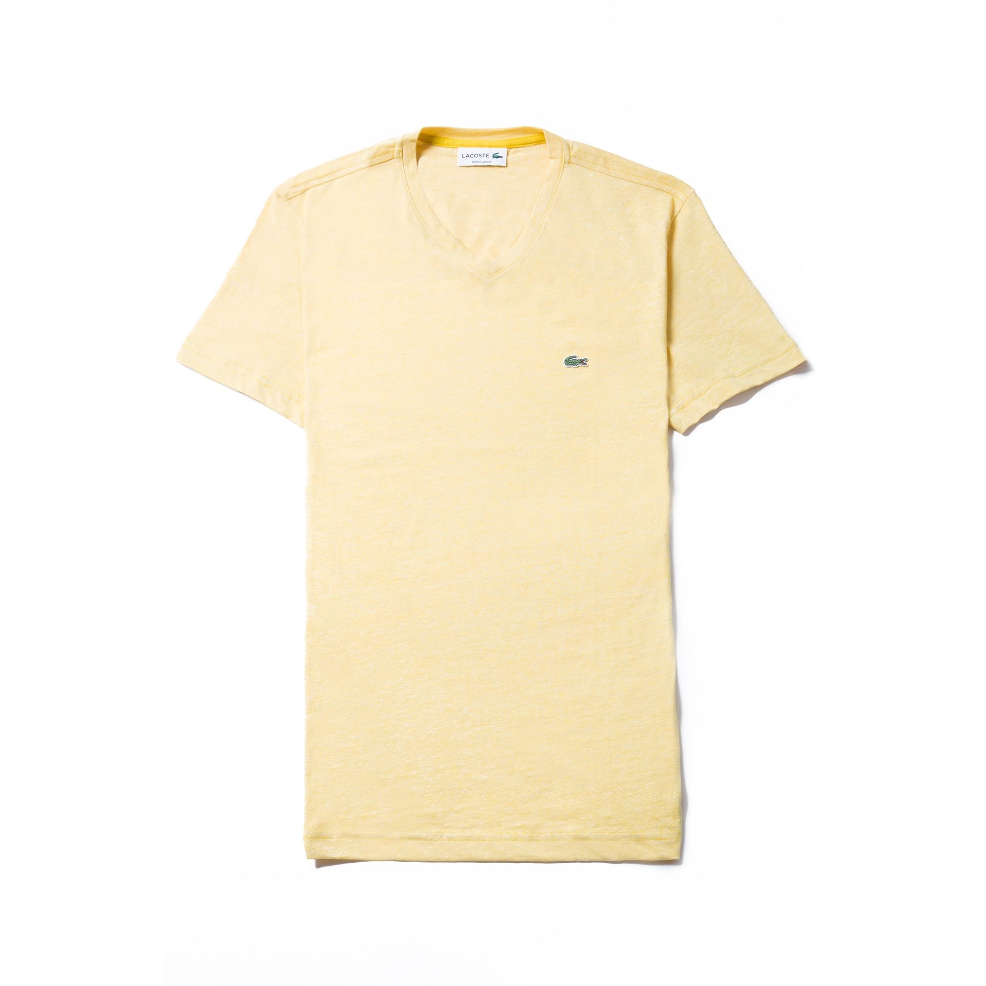 Men's V-neck Thin Striped Cotton Jersey T-shirt