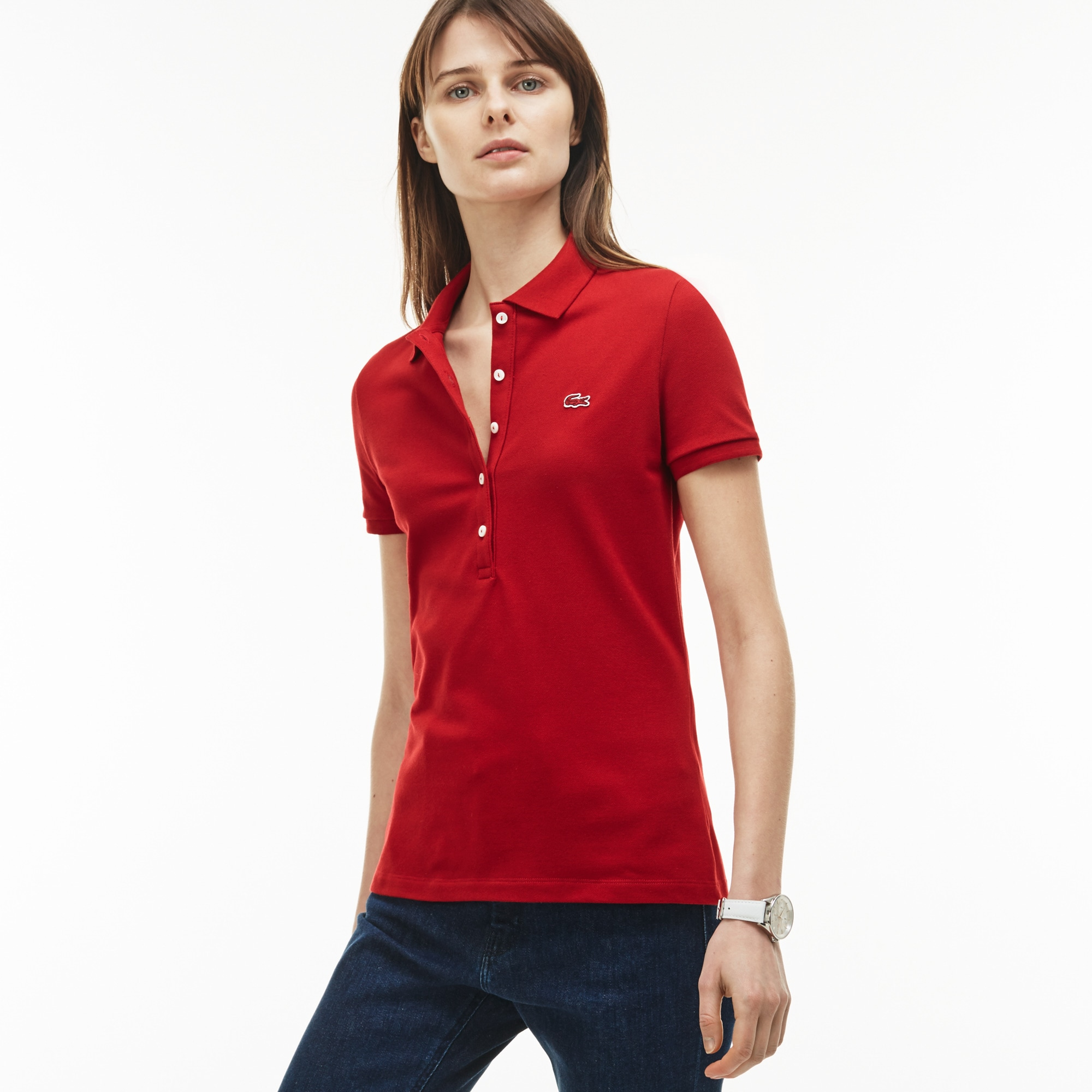 Women's  Slim Fit Stretch Mini Cotton Piqué Polo Shirt