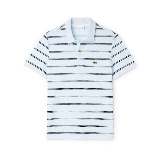 라코스테 Lacoste Mens Regular Fit Striped Mini Pique Polo,Light Blue / Blue / White - MEH (Selected colour)