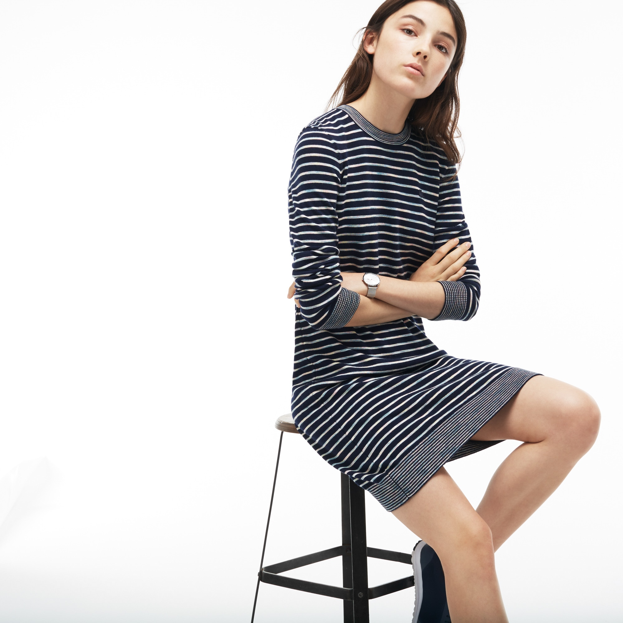 Women's Contrast Finish Wool Jersey Nautical Dress
