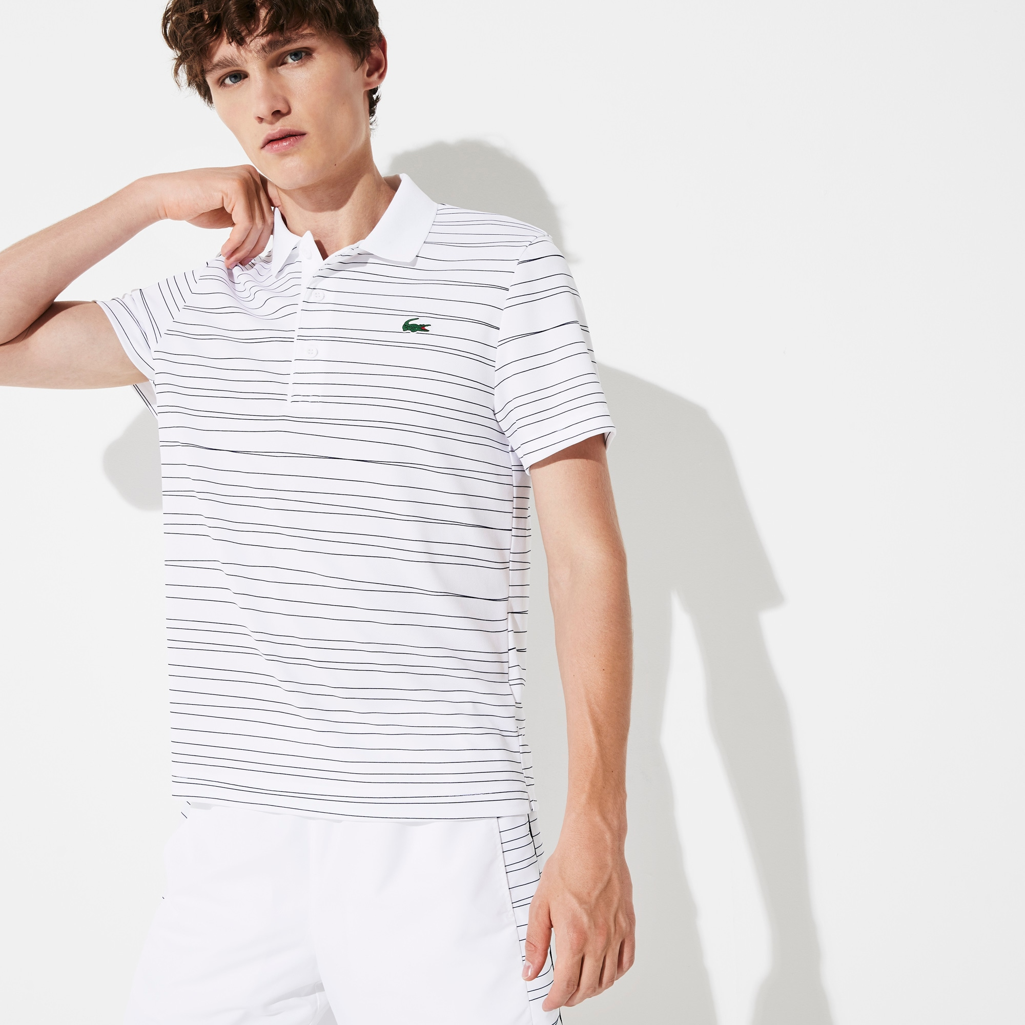 라코스테 Lacoste Mens SPORT Striped Breathable Pique Tennis Polo,White / Navy Blue - AJ0