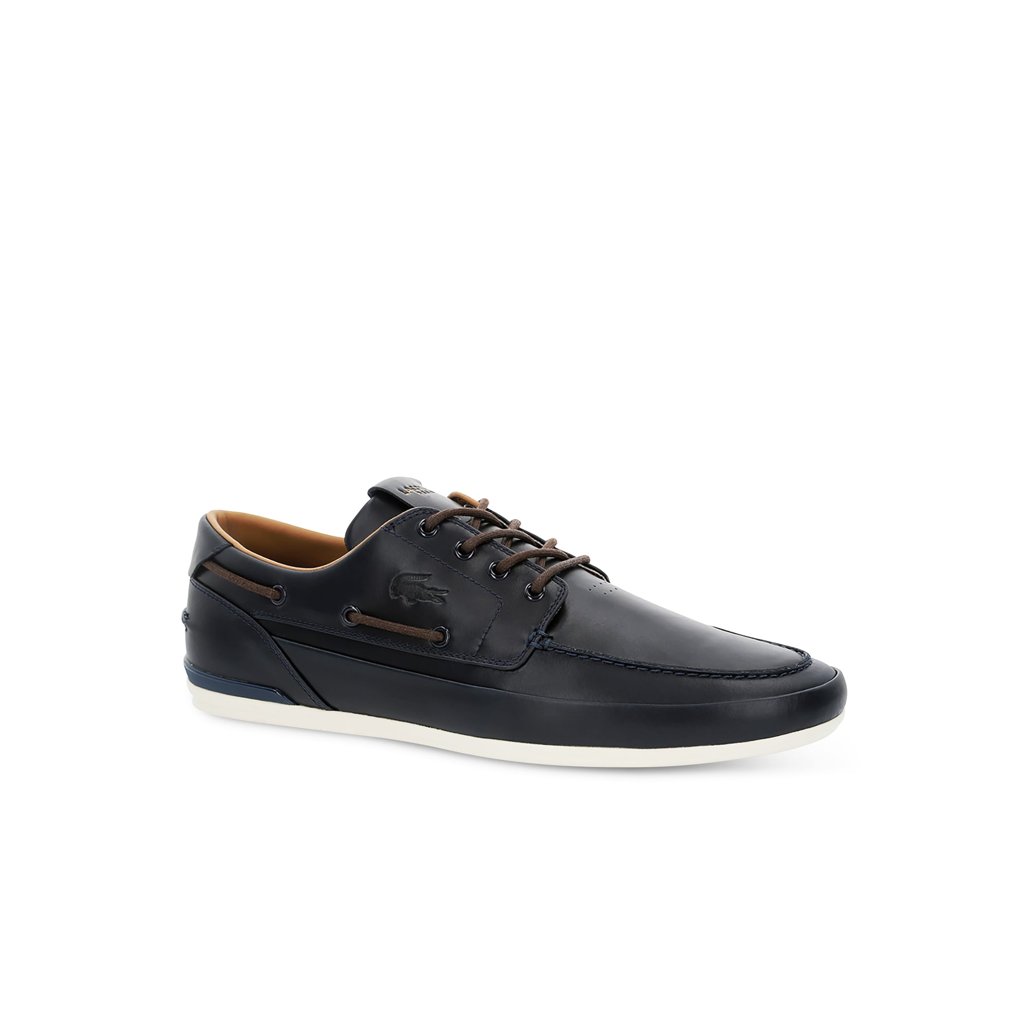 Marina Premium Leather Deck Shoes   LACOSTE
