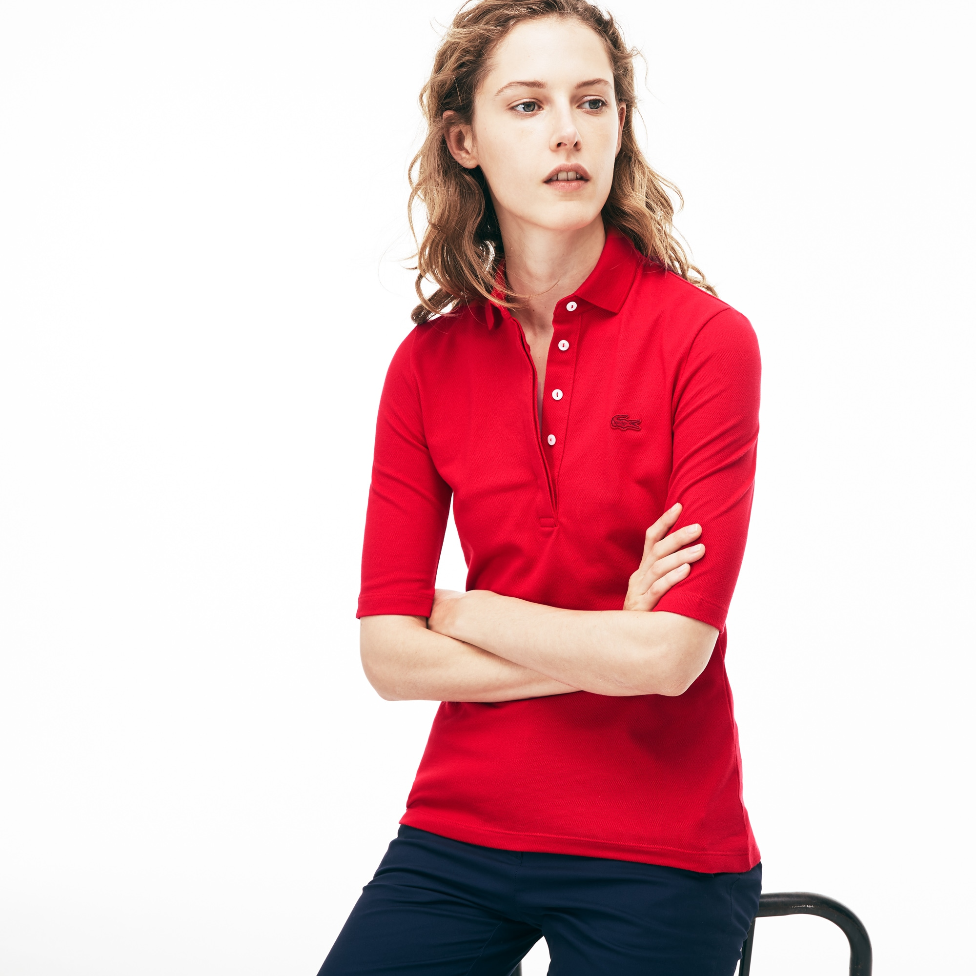 Lacoste Women S Slim Fit Stretch Mini PiquÉ Polo Shirt In Toreador ... 0865eb1dd1