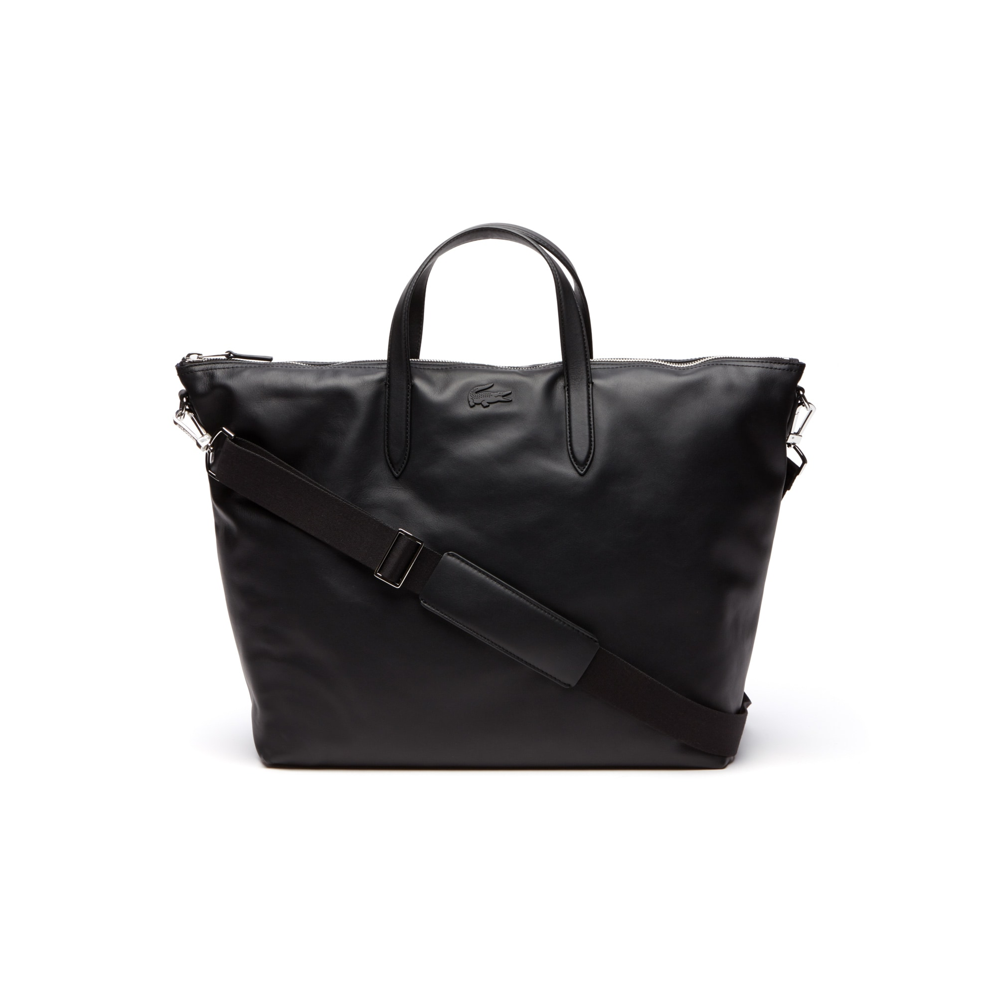 라코스테 Lacoste Mens L.12.12 Business Large Leather Zip Tote,BLACK
