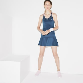 라코스테 Lacoste Womens SPORT Racerback Jersey Tennis Dress,Blue / Pink