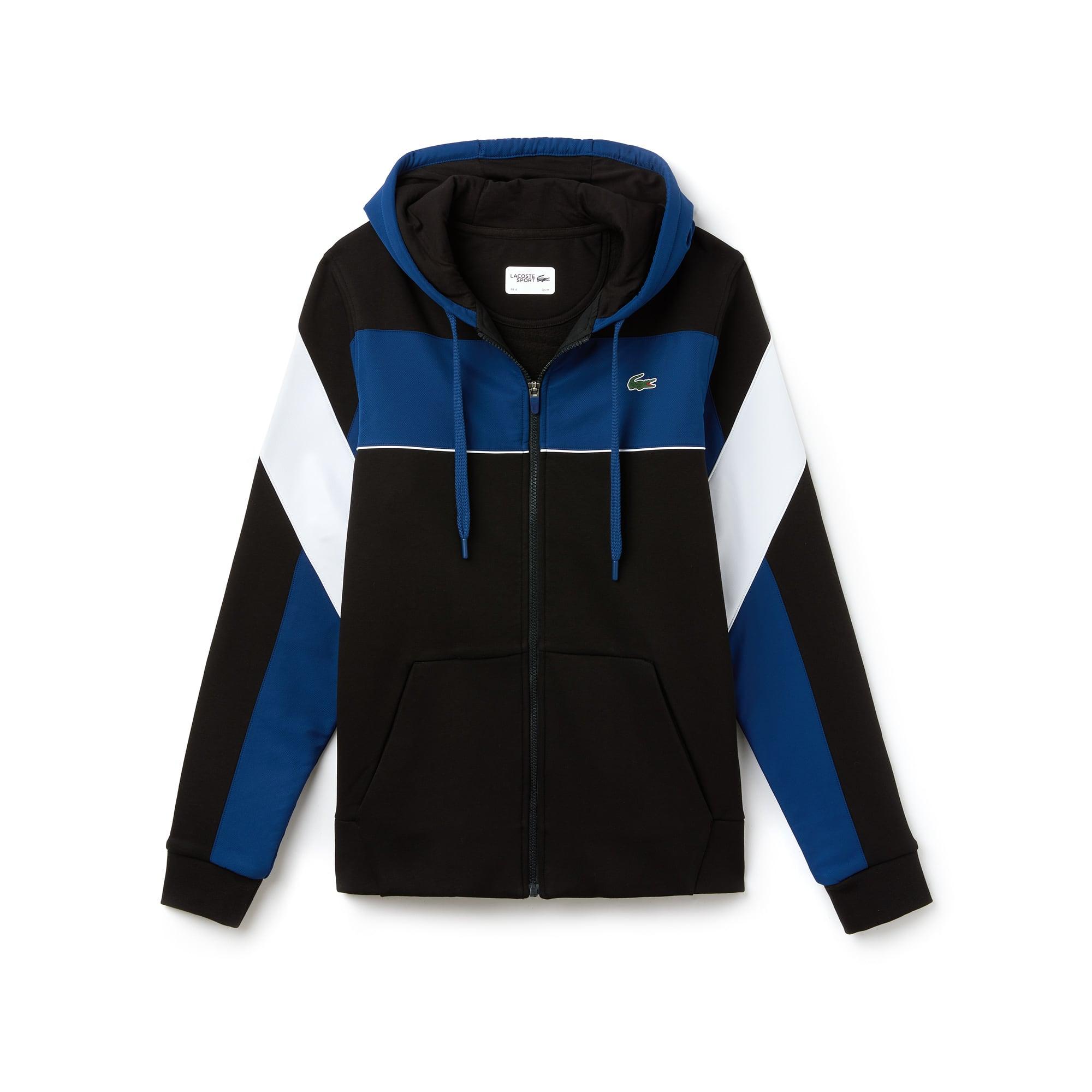 라코스테 스포츠 후드 집업 스웻셔츠 Lacoste Mens SPORT Hooded Zip Colorblock Tennis Sweatshirt,black/inkwell-white-white