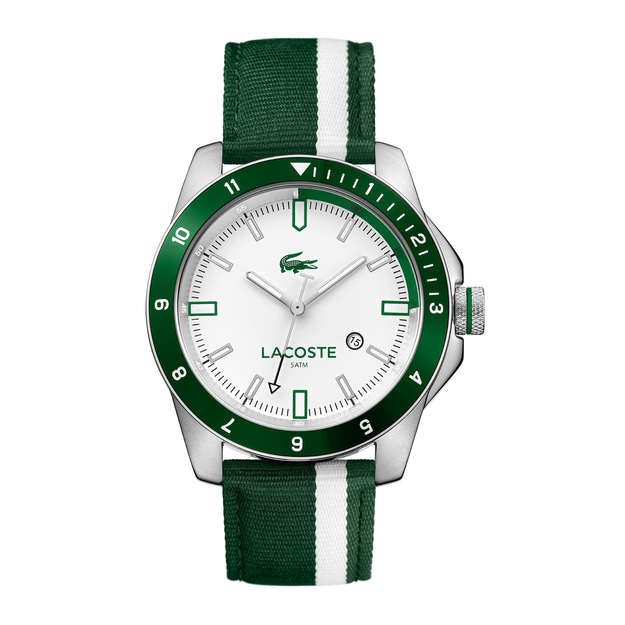 Men's Durban Green and White Stripes Nylon Strap Watch