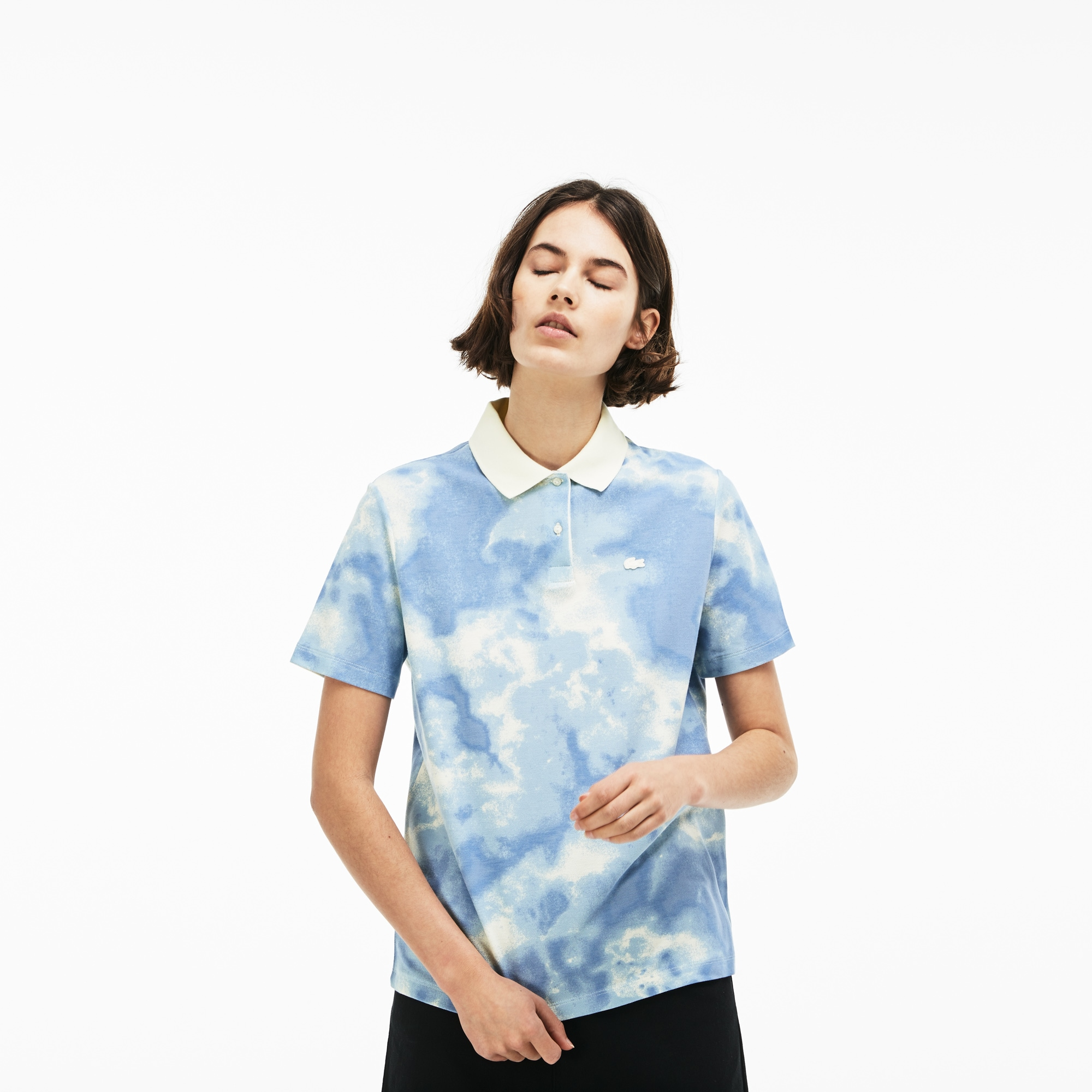 Women's LIVE Boxy Fit Cloud Print Cotton Mini Piqué Polo