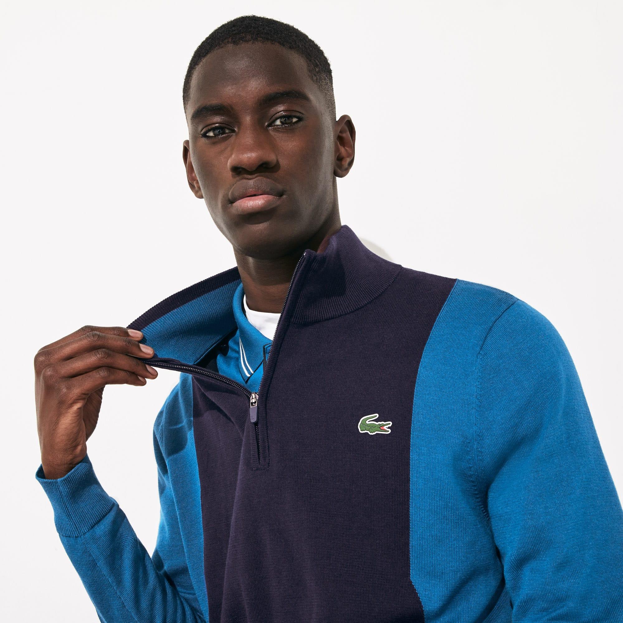 라코스테 Lacoste Mens SPORT Breathable Knit Zip Collar Golf Sweater,Navy Blue / Blue / Navy Blue - P1F (Selected colou