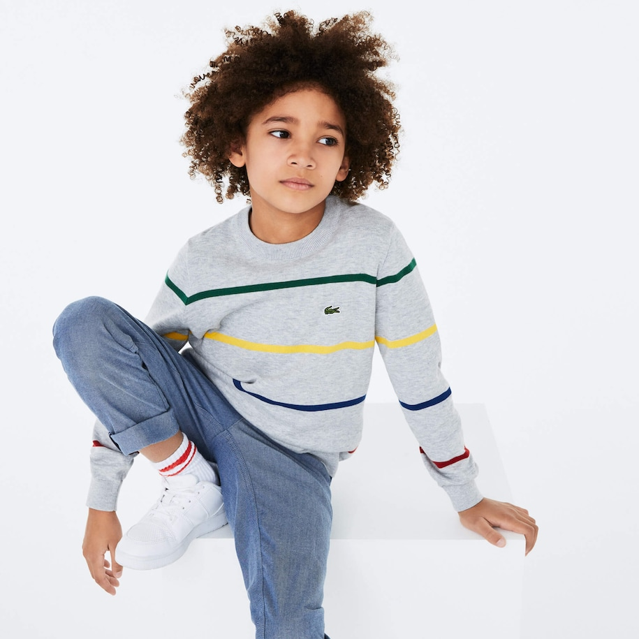 Boys' Coloured Stripe Cotton Blend Sweater