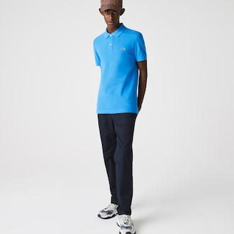 라코스테 Lacoste Mens Petit Pique Slim Fit Polo Shirt,Blue - PTV (Selected colour)