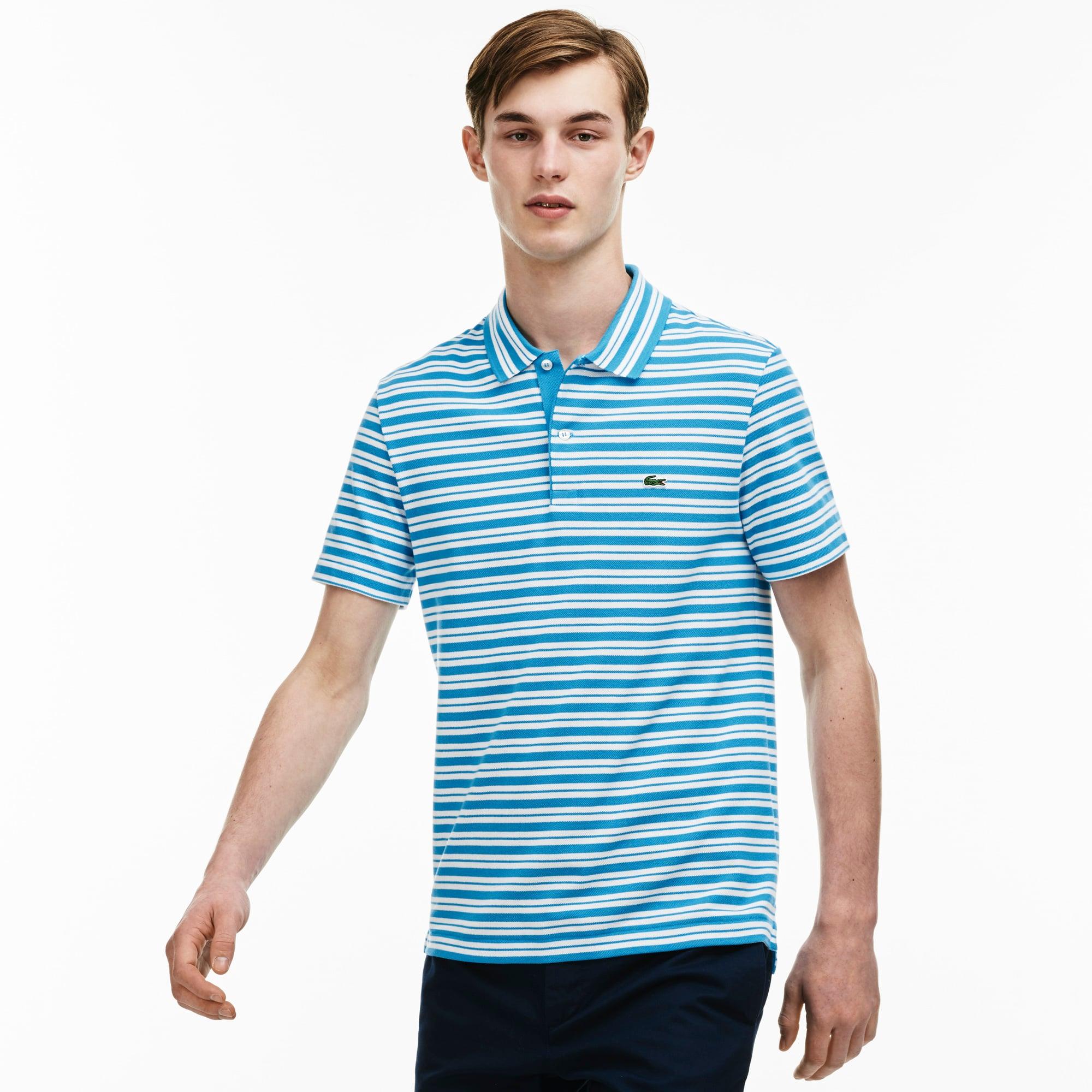 Men's Stripe Ribbed Collar Piqué  Polo Shirt