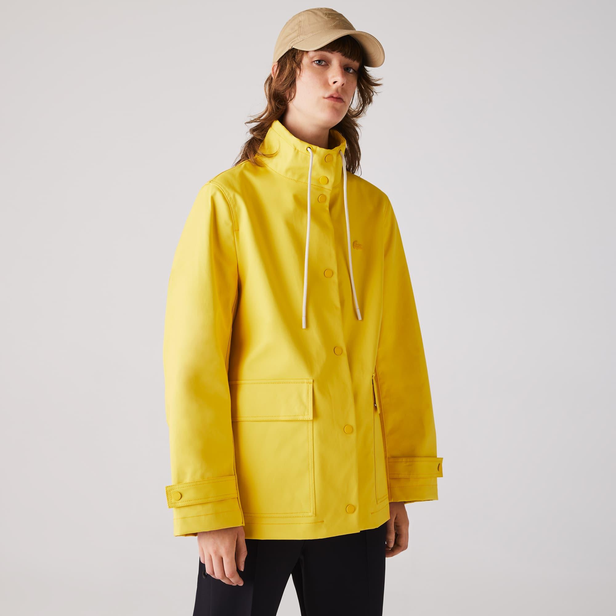 라코스테 우먼 파카 Lacoste Womens Stand-Up Collar Cotton Parka,Yellow / Beige
