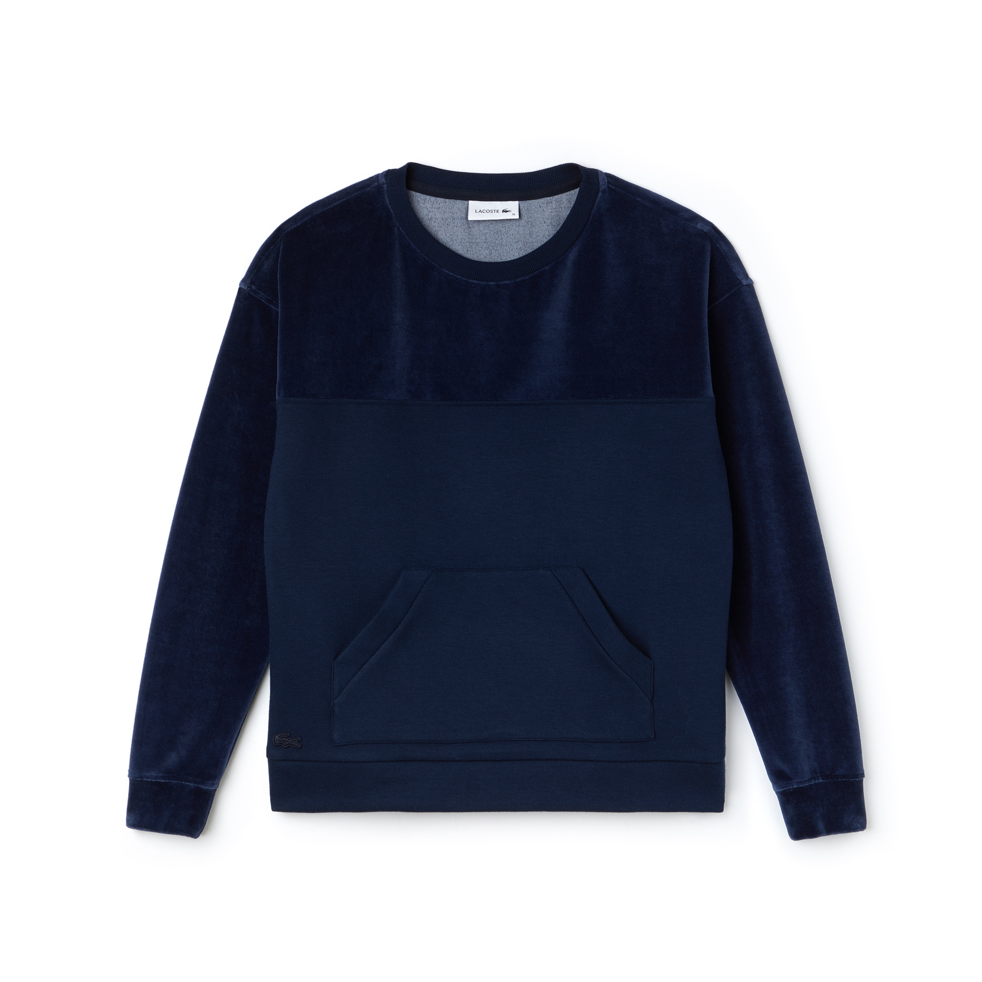 라코스테 Lacoste Womens Crew Neck Jersey And Velour Sweatshirt,navy blue