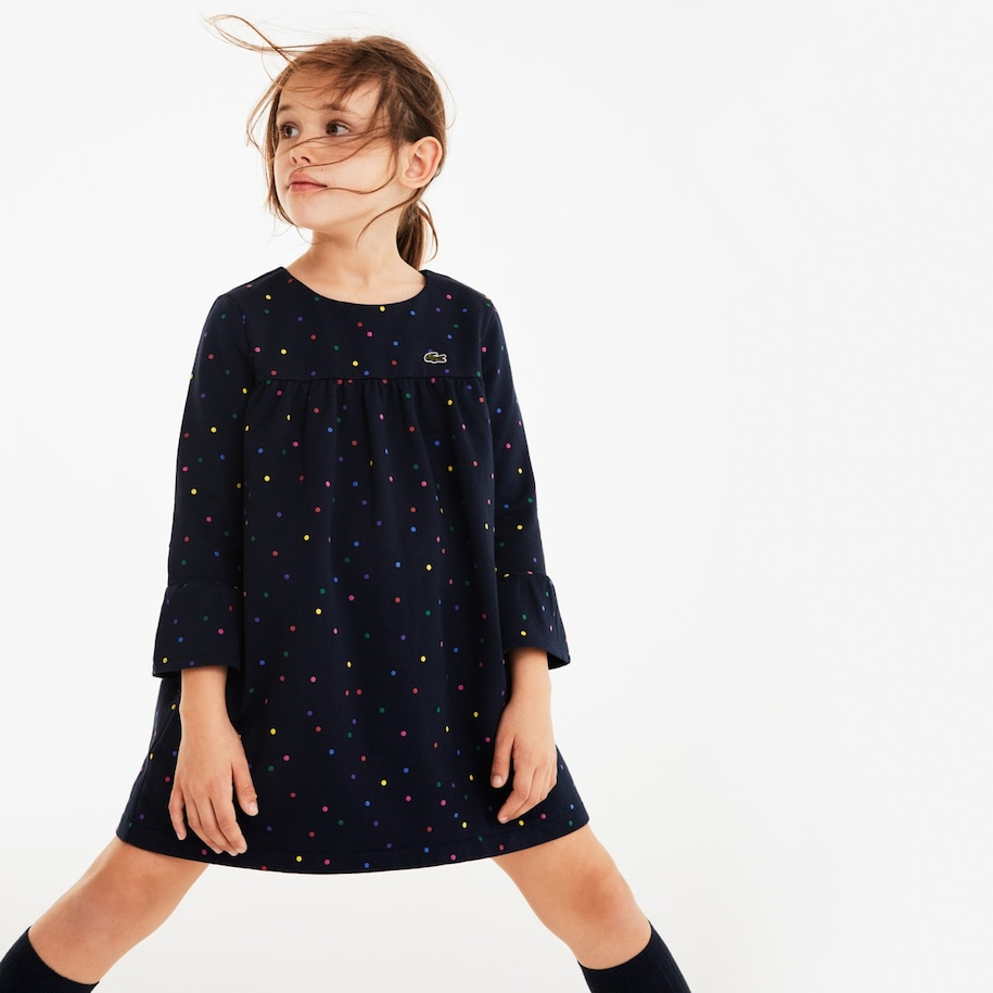 Girls' Flounced Polka Dot Fleece Dress