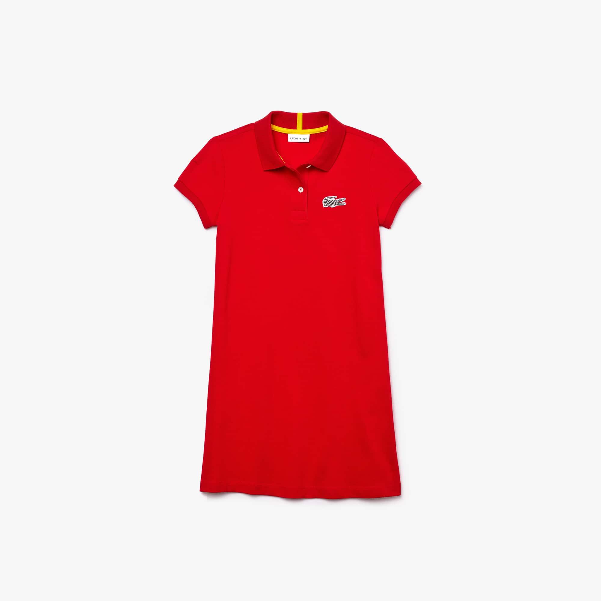 Girls' Lacoste x National Geographic Cotton Piqué Polo Shirt Dress