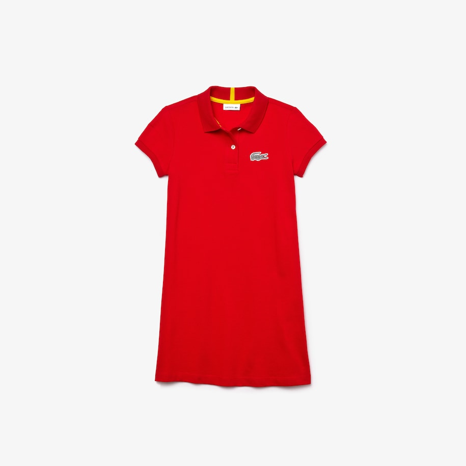 Girls' Lacoste x National Geographic Cotton Piqué Polo Shirt Dress