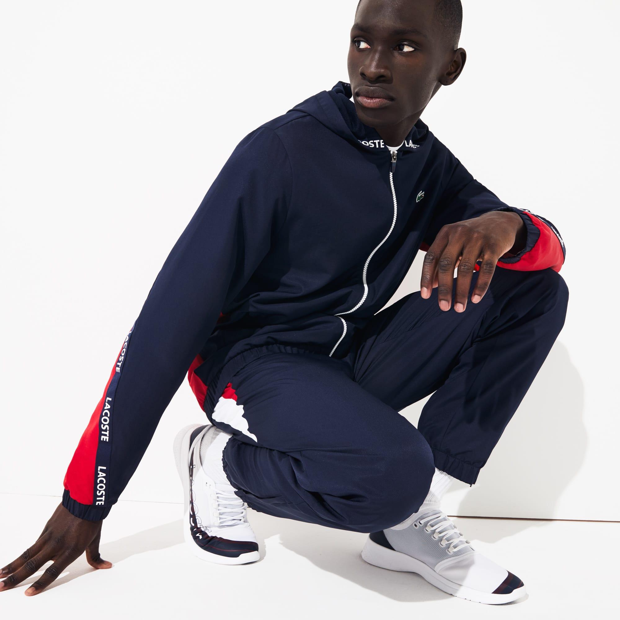 라코스테 스포츠 집업 자켓 Lacoste Mens SPORT Logo Two-Tone Jacket,Navy Blue / Red / Navy Blue / White - ZKG (Selecte