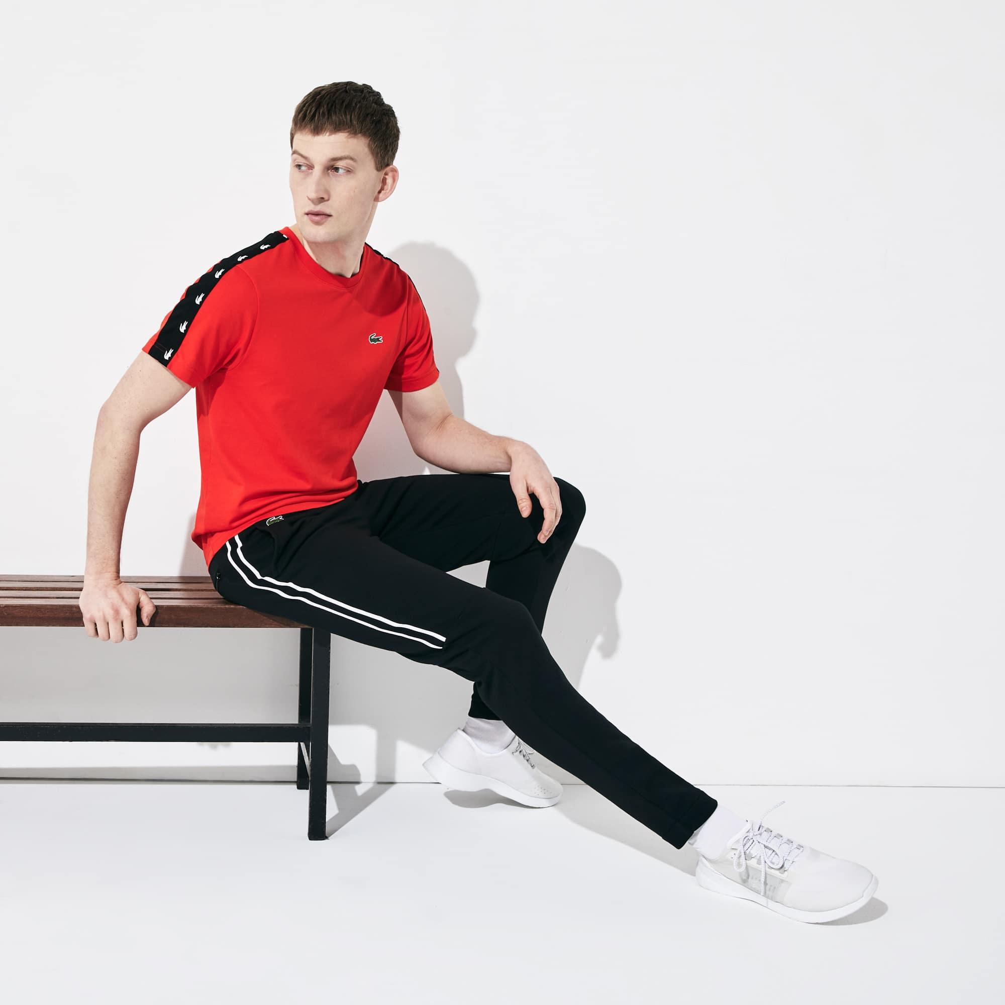 라코스테 Lacoste Mens SPORT Racing Stripe Fleece Track Pants,Black / White / Black - 6KJ