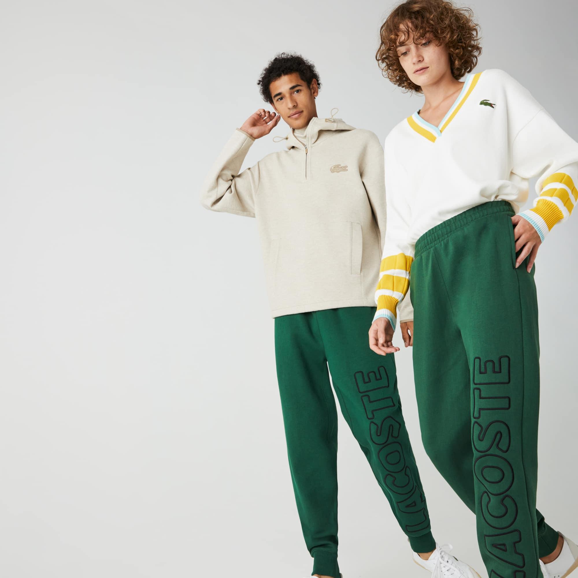 라코스테 라이브 남녀공용 트랙 팬츠 Unisex Lacoste LIVE Embroidered Cotton Blend Tracksuit Pants,Green / Black • U1Y