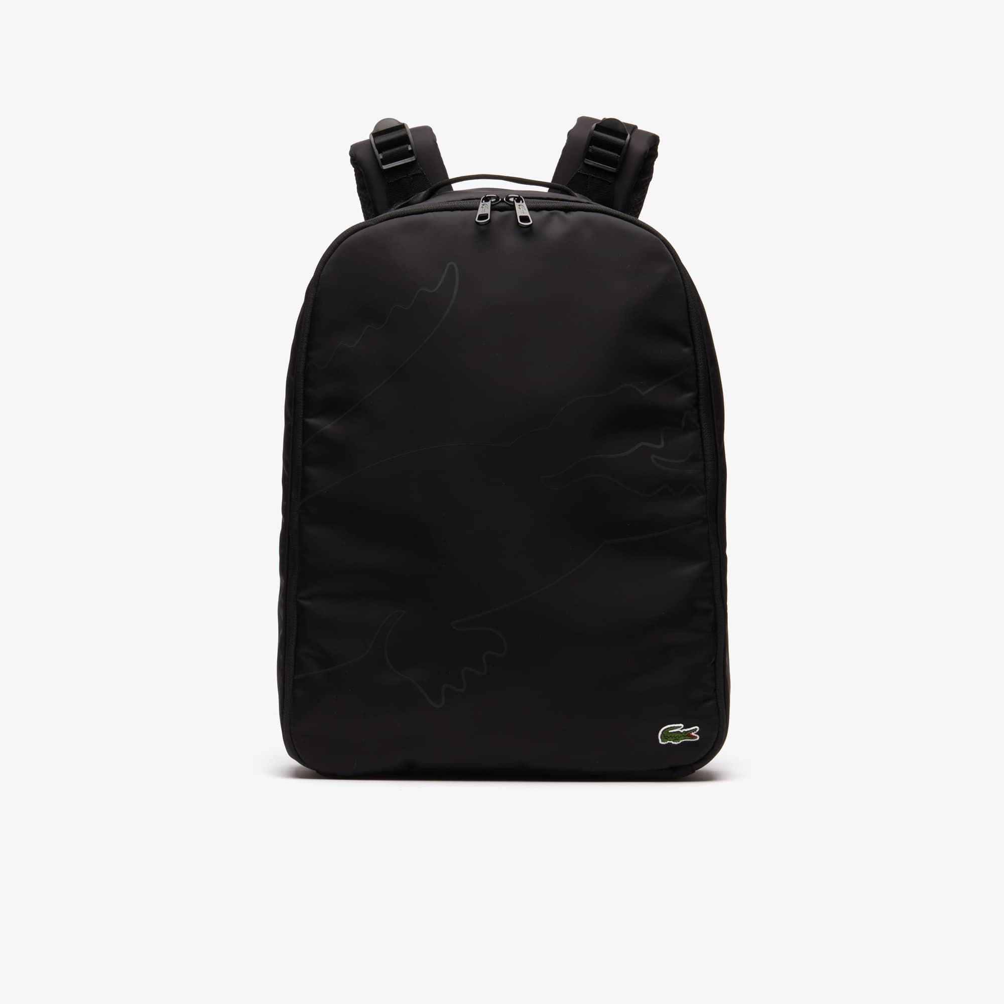 라코스테 오버사이즈 크록 캔버스 백팩 Lacoste Mens Oversized Croc Canvas Backpack,BLACK