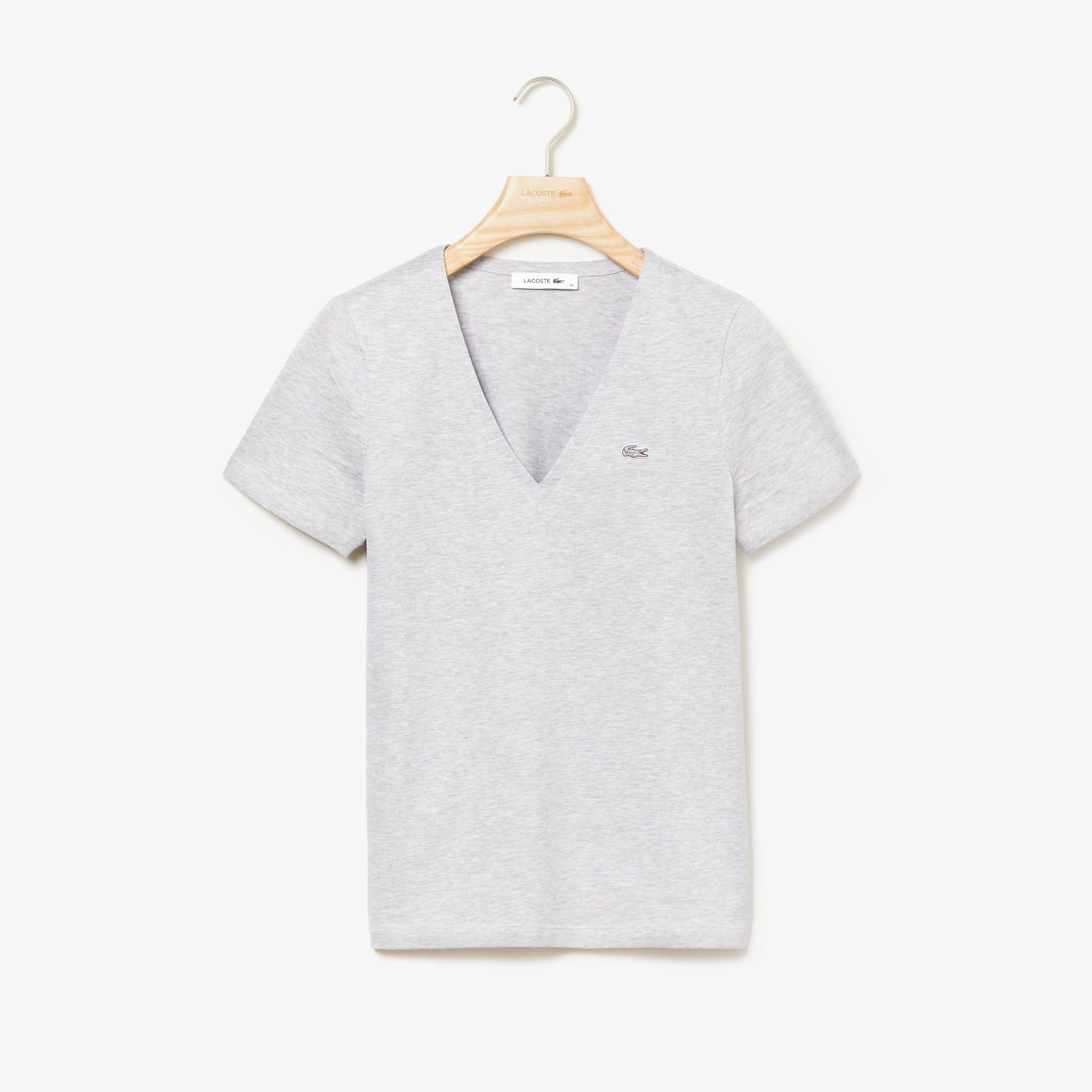 라코스테 Lacoste Womens Slim Fit V-Neck Cotton Jersey T-shirt,Grey Chine - CCA (Selected color)