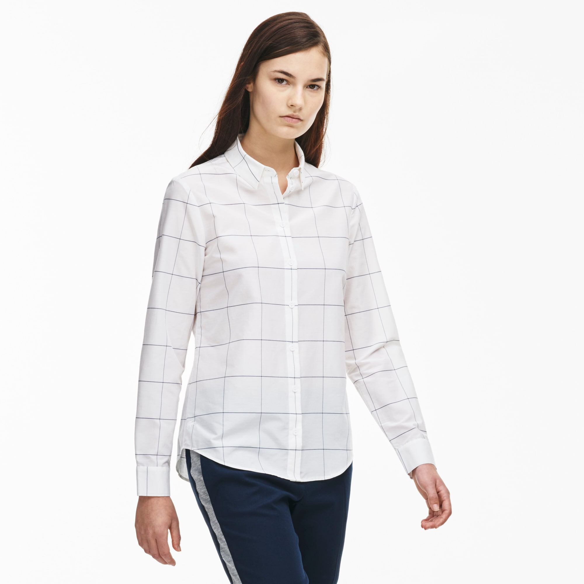 Women's Slim Fit Net Print Silk and Cotton Voile Shirt
