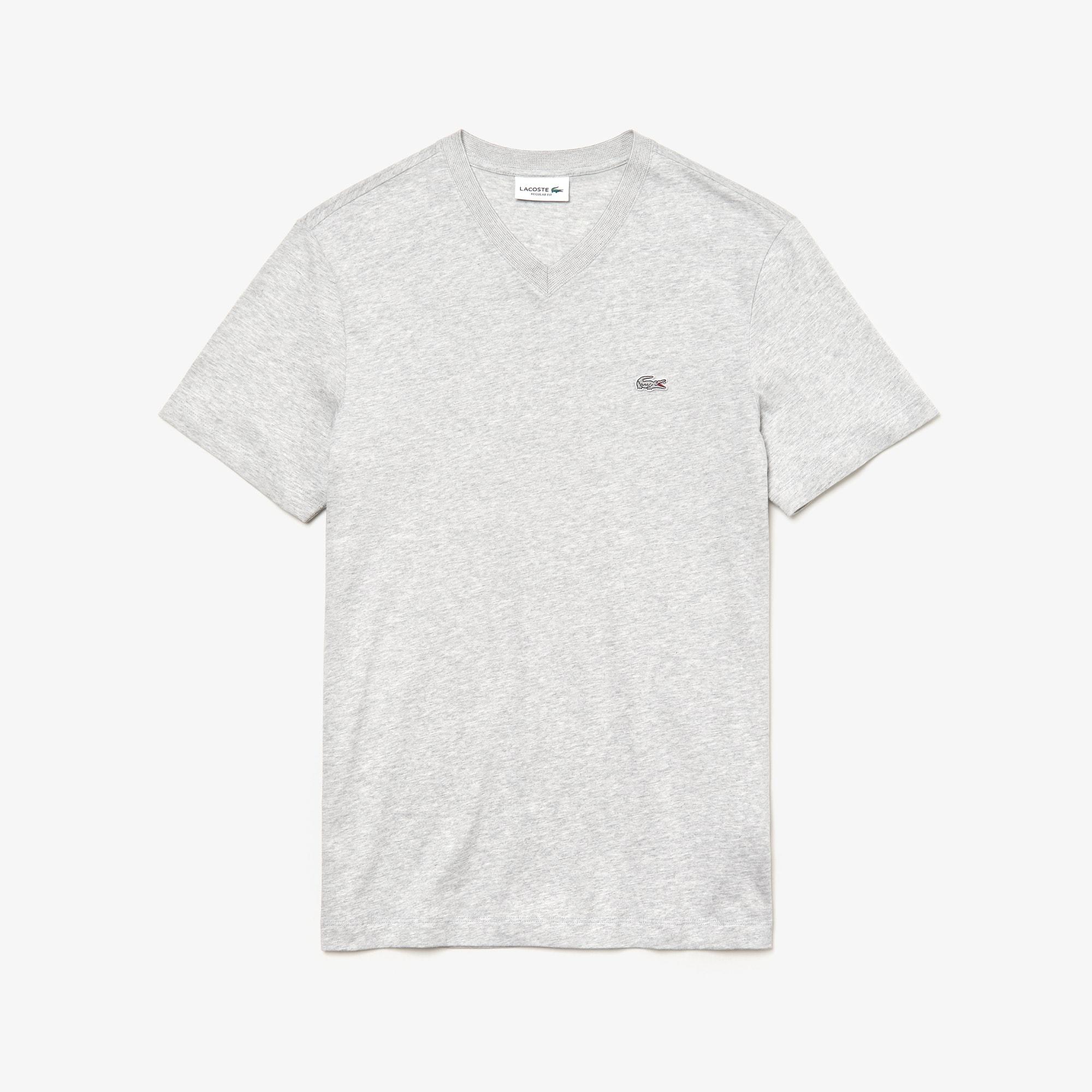 라코스테 브이넥 반팔 티셔츠 Lacoste Mens V-Neck Cotton T-shirt,Grey Chine / White