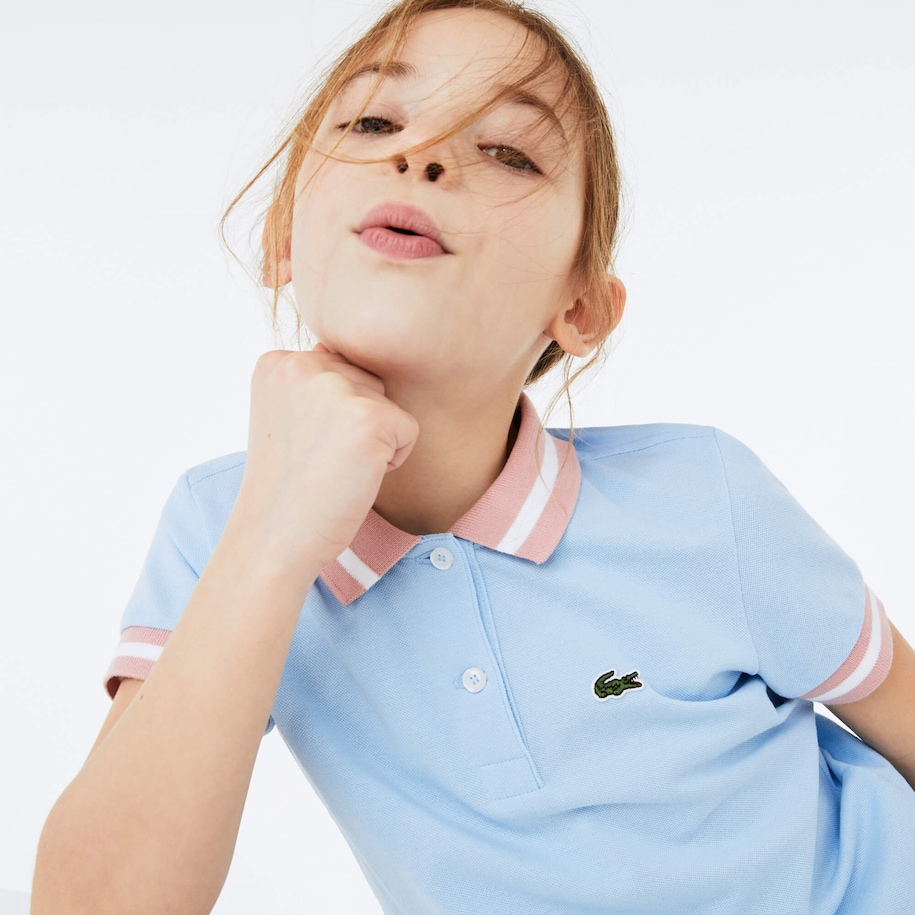 Boys' Striped Details Cotton Piqué Polo