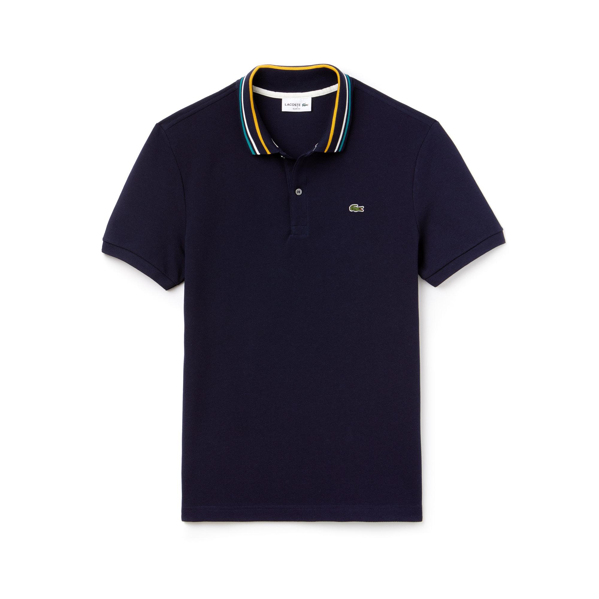 라코스테 Lacoste Mens Slim Fit Striped Contrast Collar Petit Pique Polo,navy blue