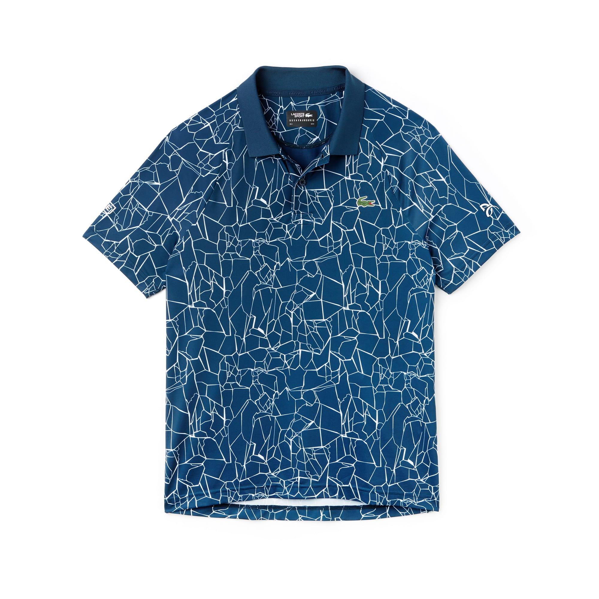 라코스테 스포츠 반팔 카라티 Lacoste Mens SPORT Print Technical Jersey Polo - x Novak Djokovic On Court Premium Edition,azurite/white