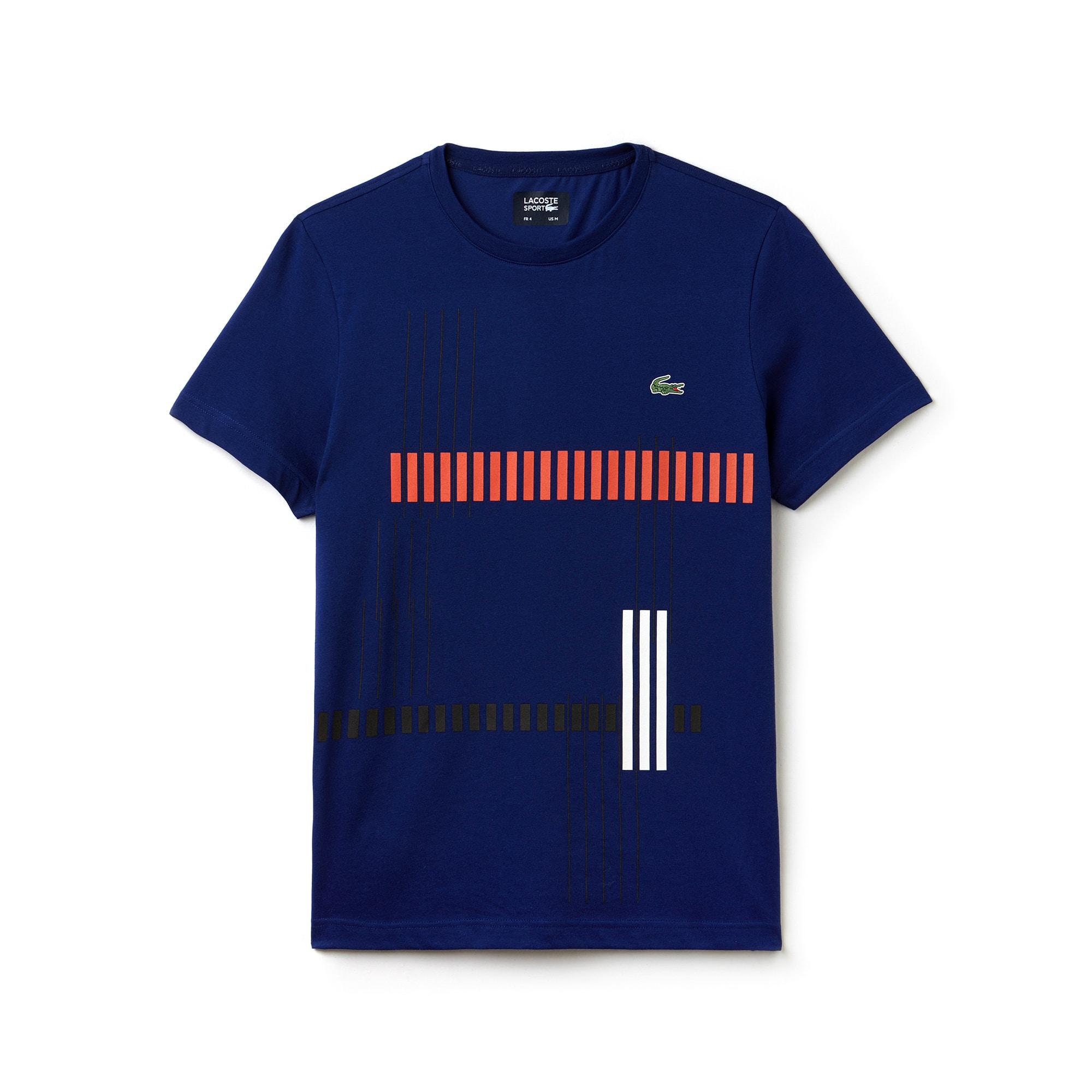 라코스테 Lacoste Mens SPORT Tennis Striped Design Tech Jersey T-shirt,navy blue / red / white / black