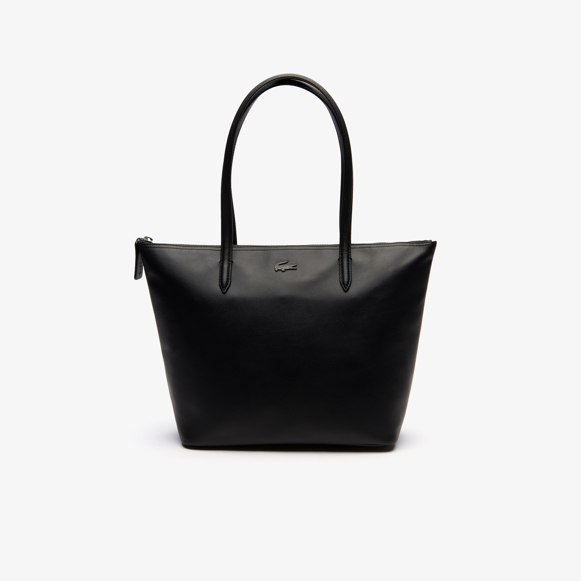 라코스테 Lacoste Womens L.12.12 Small Leather Zip Tote Bag,BLACK
