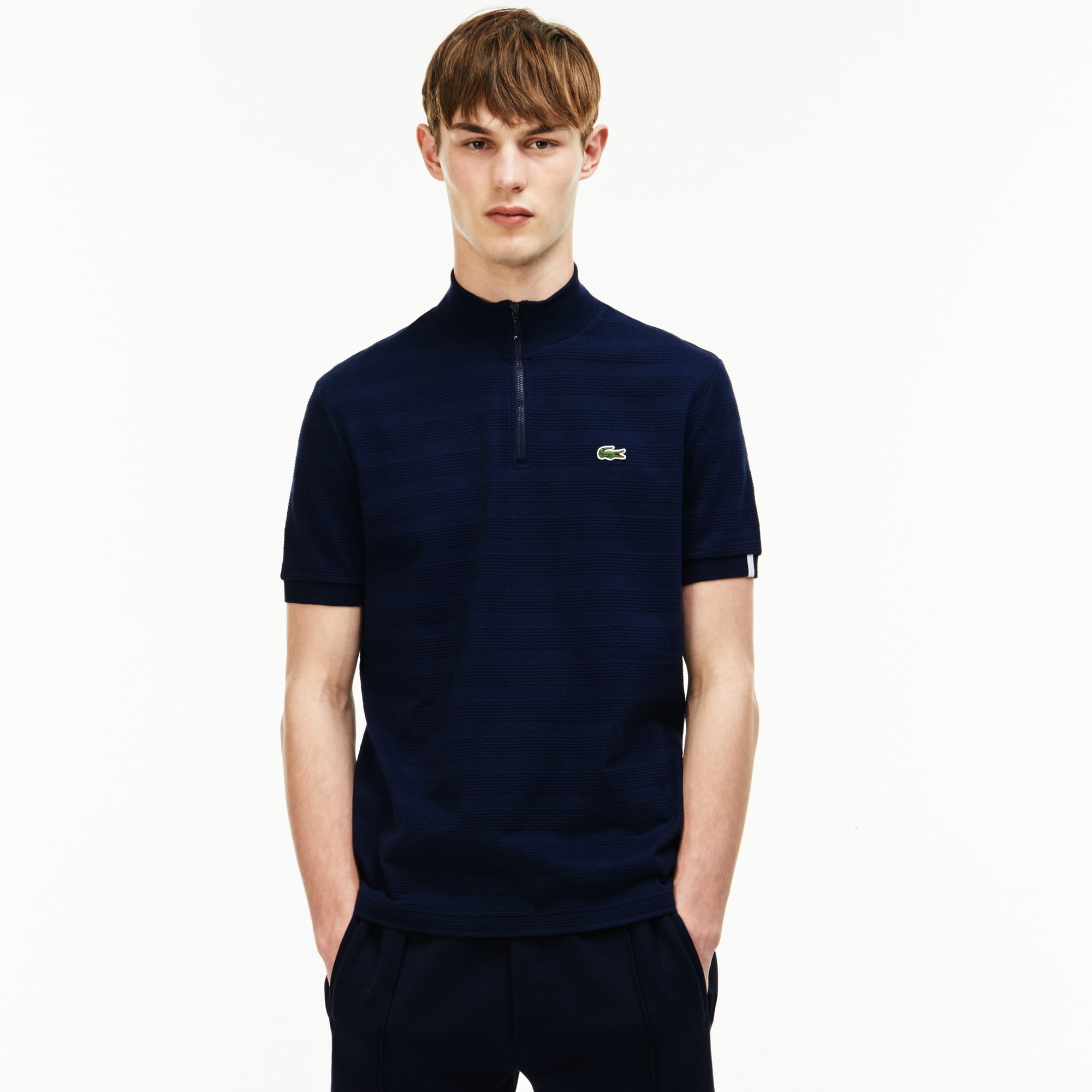 Men's  LIVE Slim Fit Zip Striped Honeycomb Jersey Polo