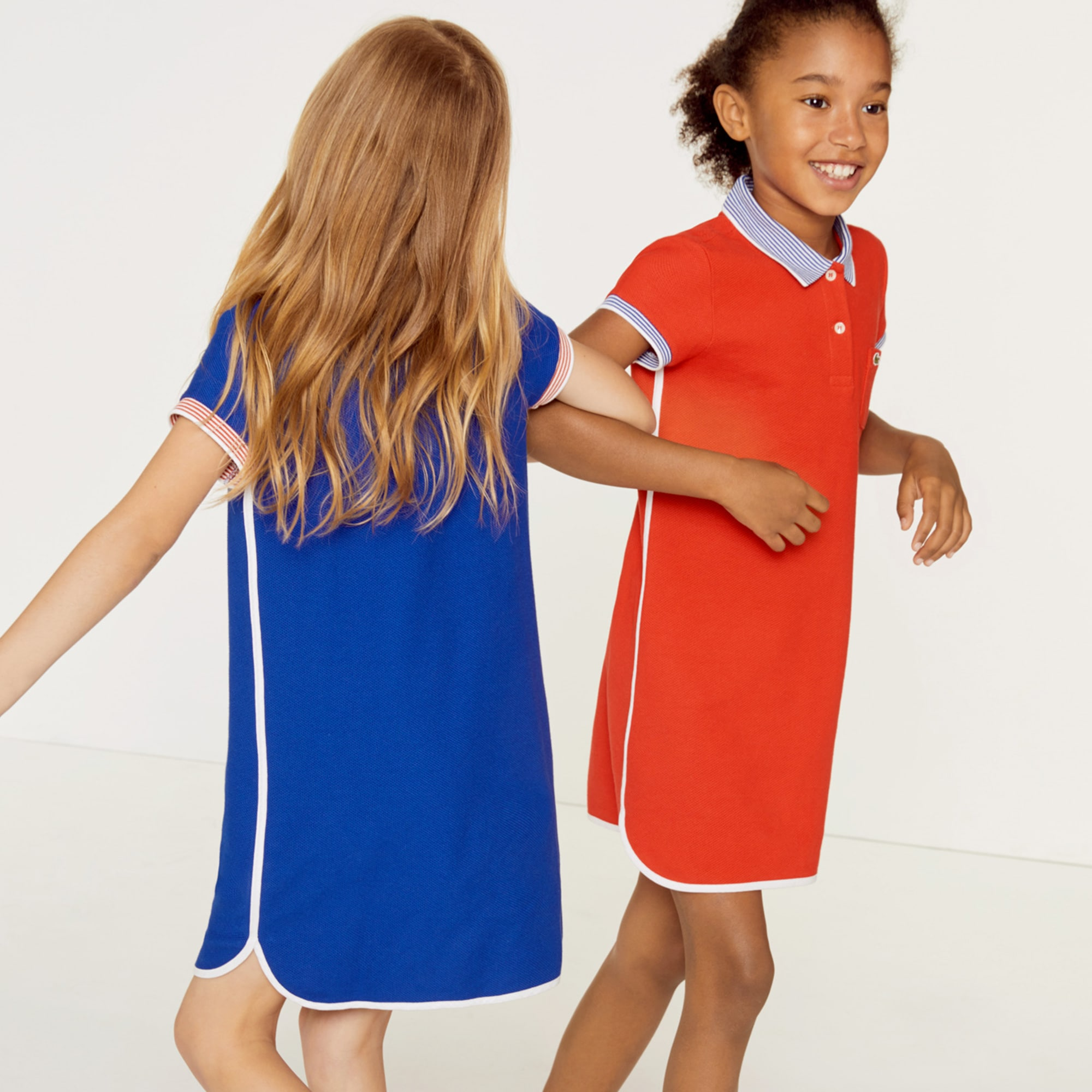 Girls' Contrast Accents Texturised Cotton Polo Dress