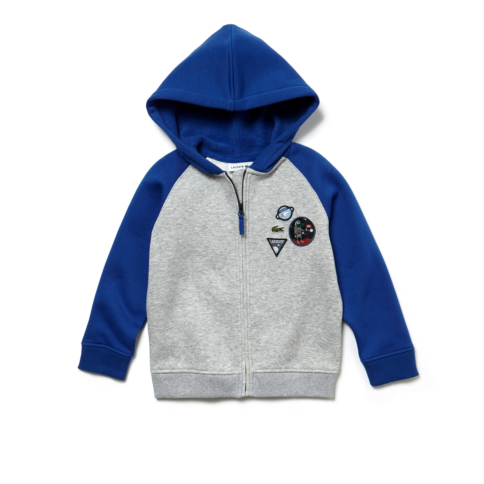 Boys' Patches Hooded Zippered Bicolor Fleece Sweatshirt