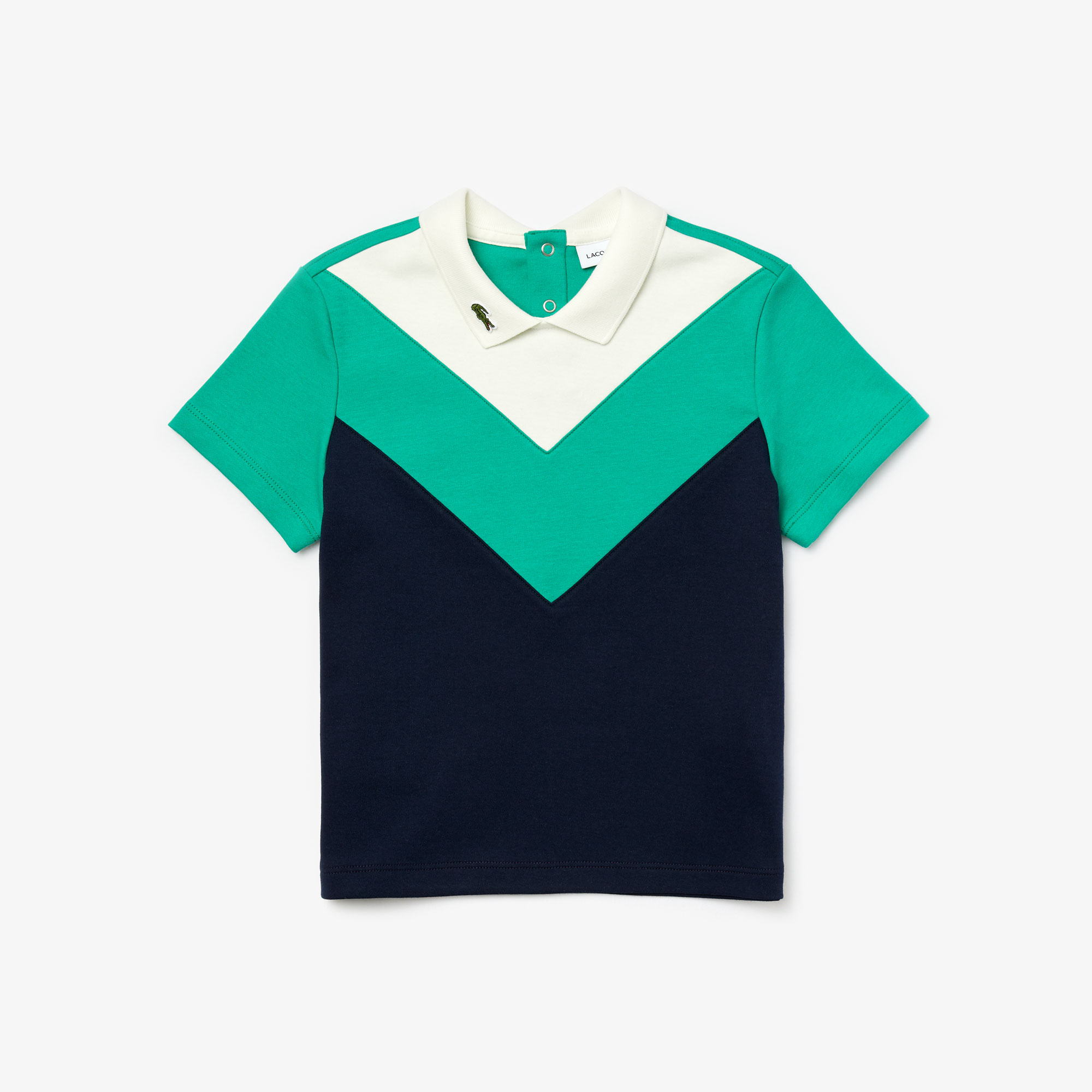 라코스테 걸즈 폴로 셔츠 Girls Lacoste Reverse Collar Colourblock Cotton Polo Shirt,White / Green / Navy Blue • EG4