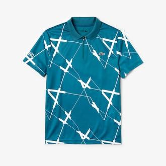 라코스테 스포츠 테니스 폴로 셔츠, 그래픽 프린트 기능성 - 블루 Lacoste Mens SPORT Graphic Print Breathable Pique Tennis Polo